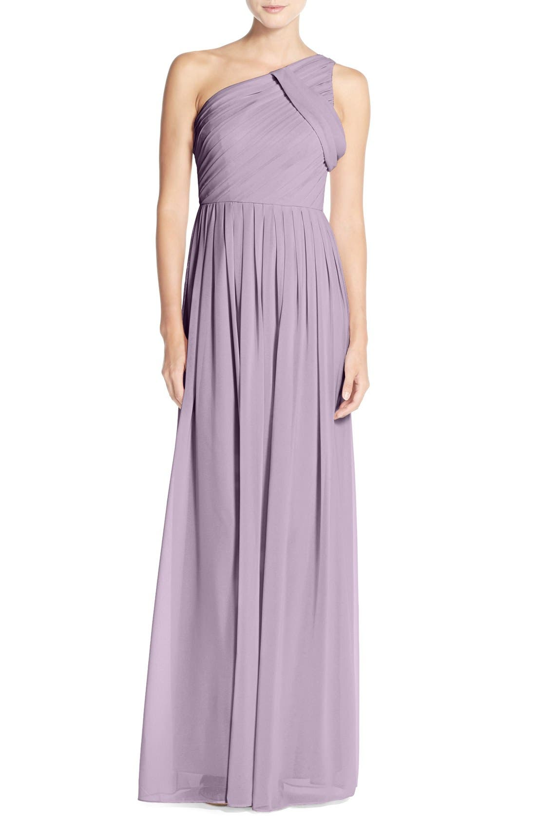 'Chloe' One-Shoulder Pleat Chiffon Gown,                         Main,                         color,