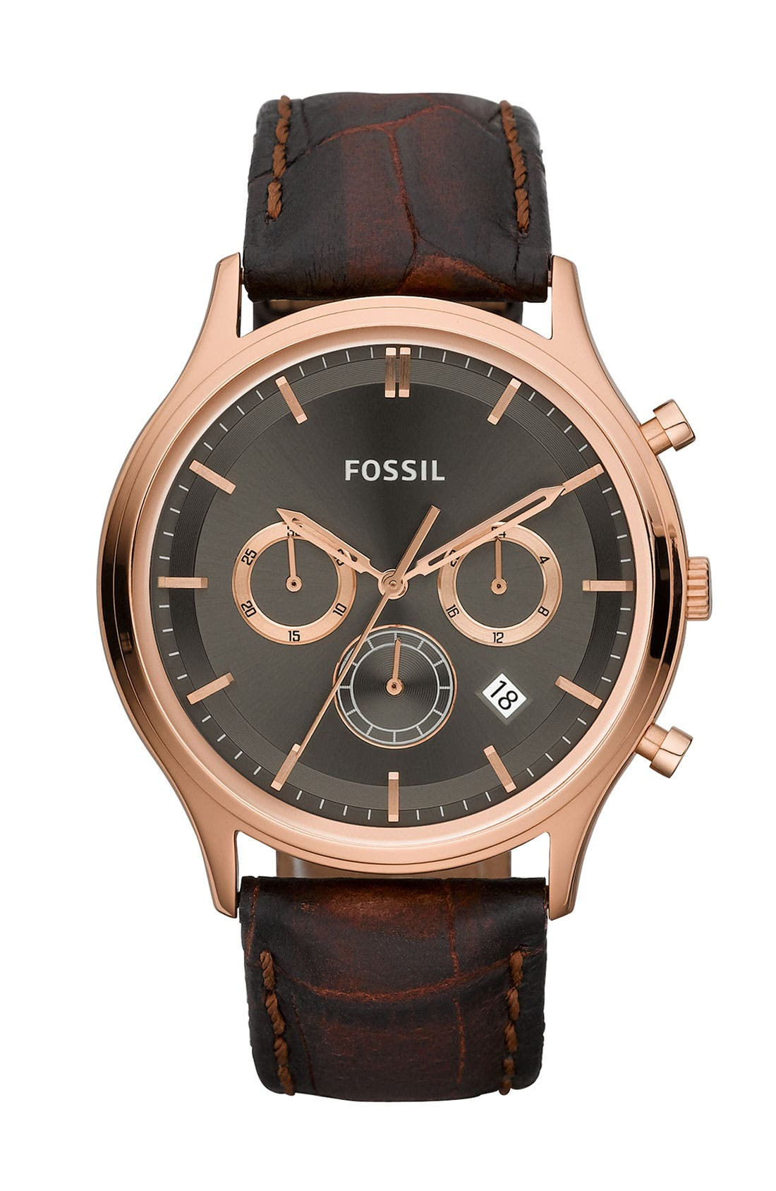 FOSSIL 'Ansel' Leather Strap Chronograph Watch, 41mm, Main, color, 200