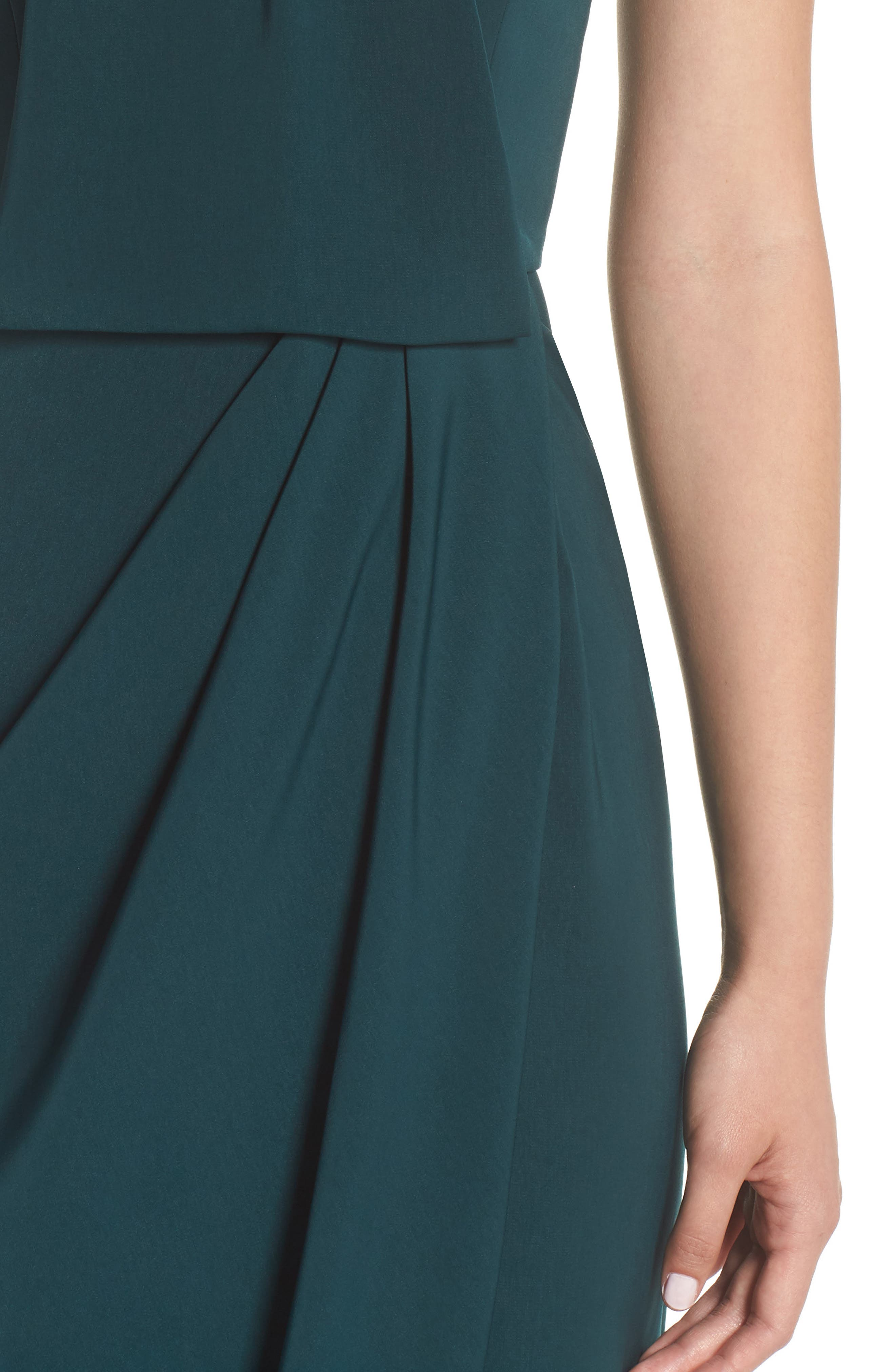 Knotted Tulip Hem Midi Dress,                             Alternate thumbnail 4, color,                             SEAWEED