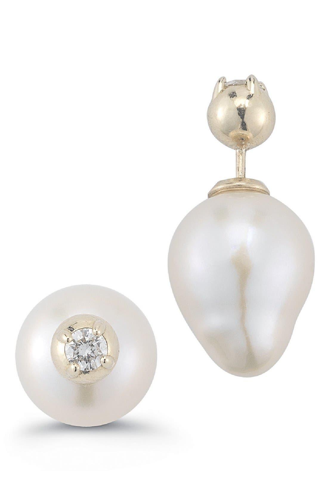 Double Stud Pearl & Diamond Earrings,                             Main thumbnail 1, color,                             YELLOW GOLD