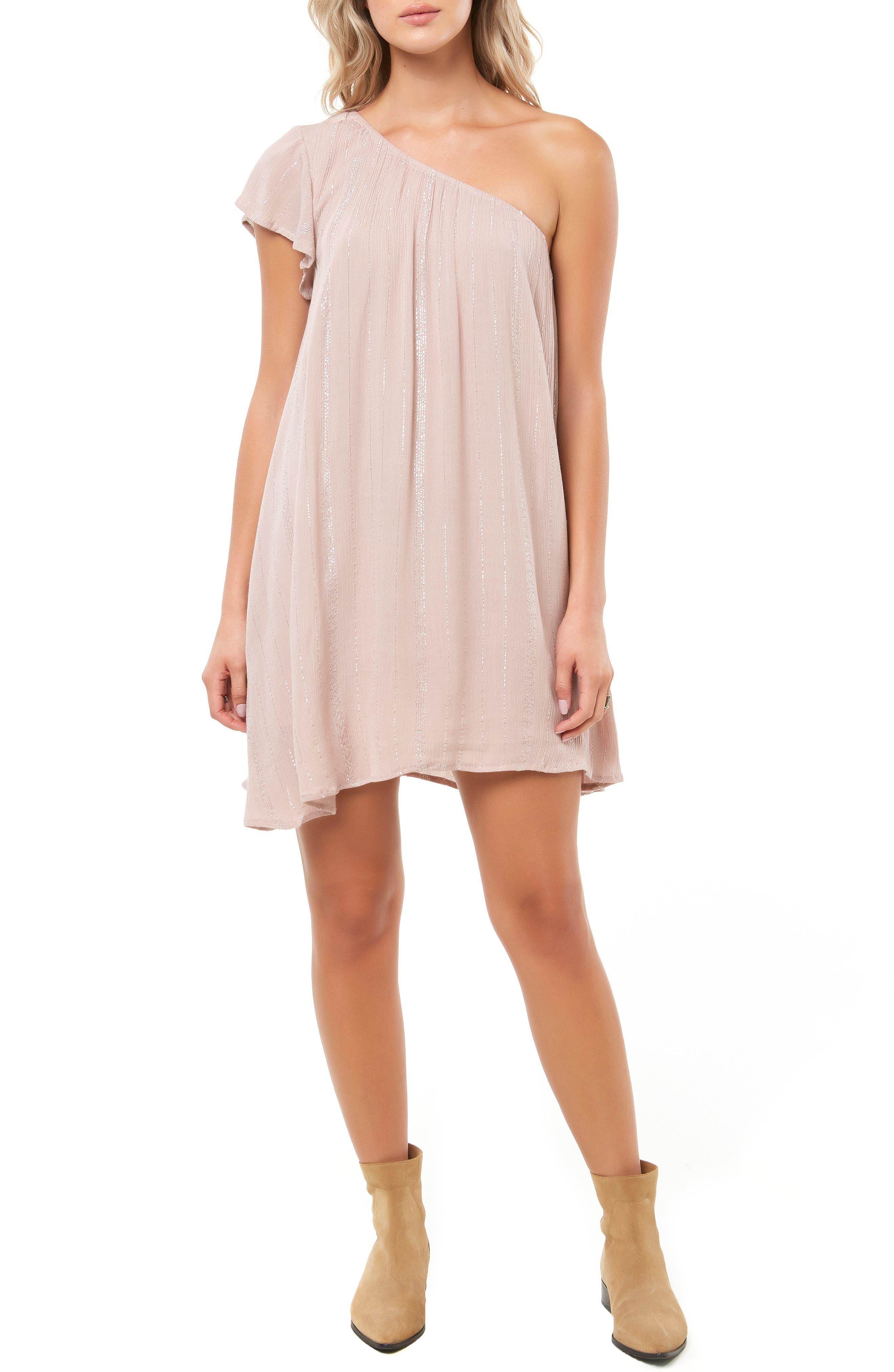 Karma One-Shoulder Dress,                         Main,                         color, FAWN