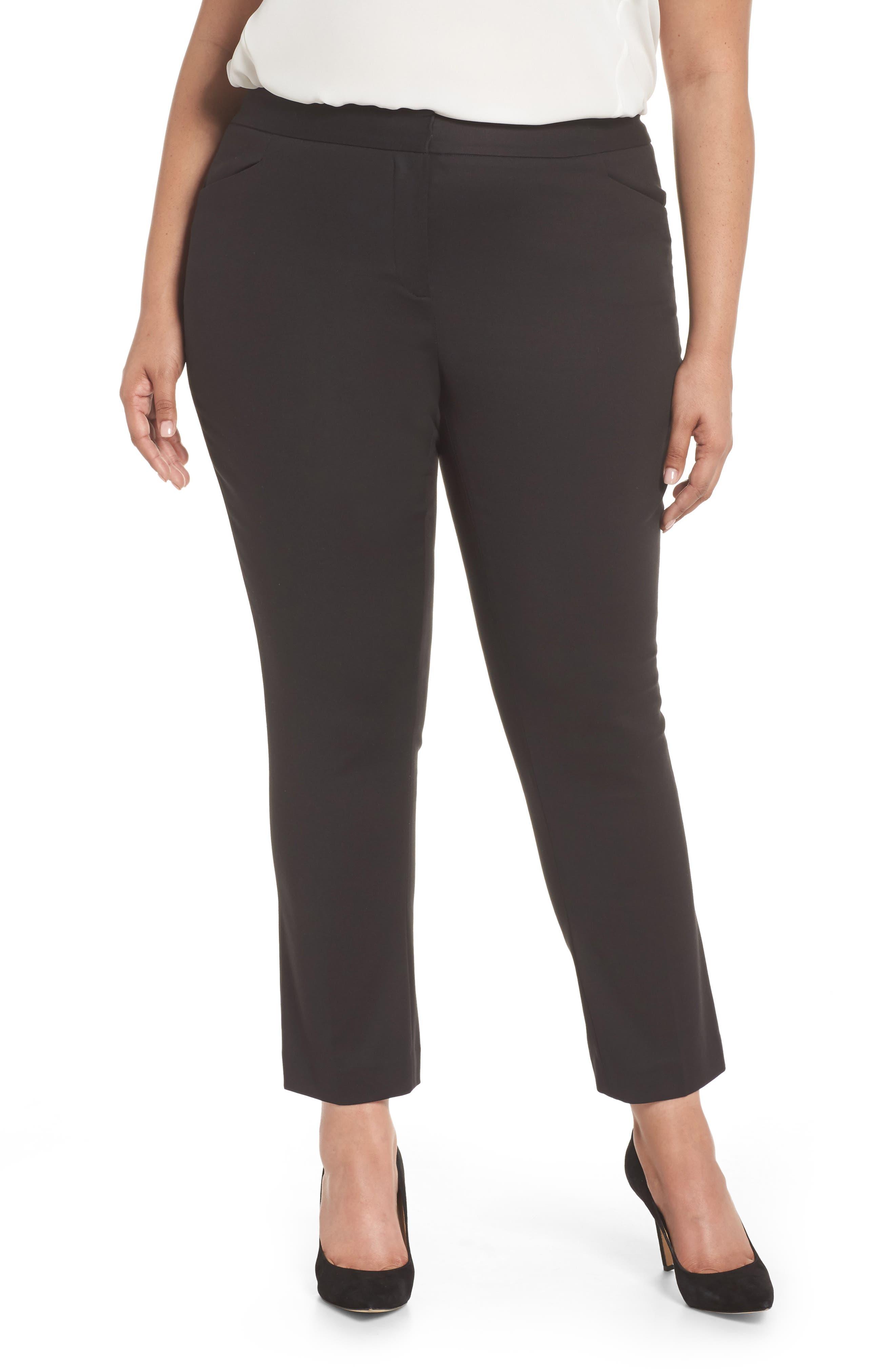 Stretch Cotton Blend Ankle Pants,                             Main thumbnail 1, color,                             RICH BLACK