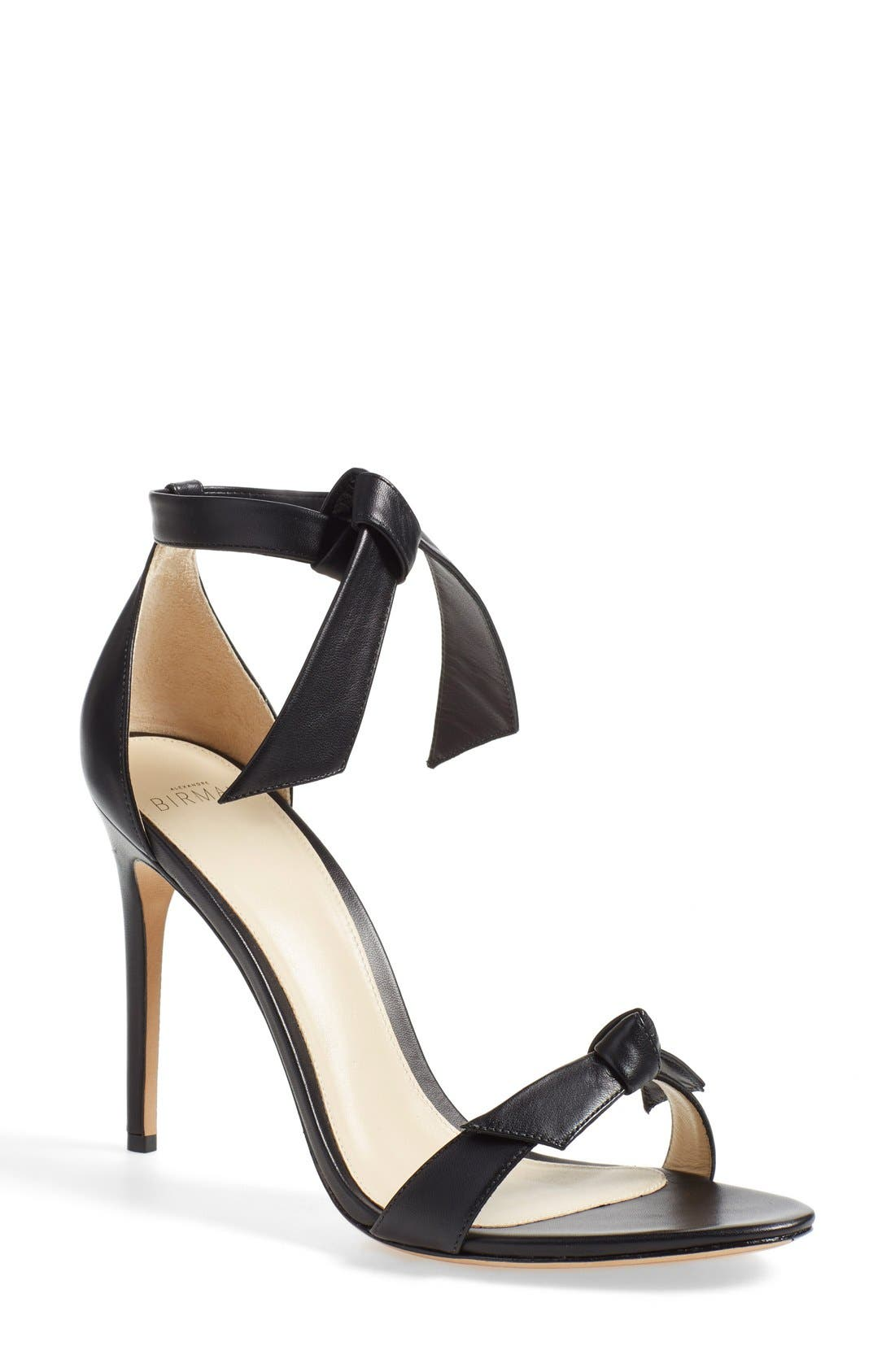 ALEXANDRE BIRMAN 'Clarita' Ankle Tie Sandal, Main, color, BLACK LEATHER