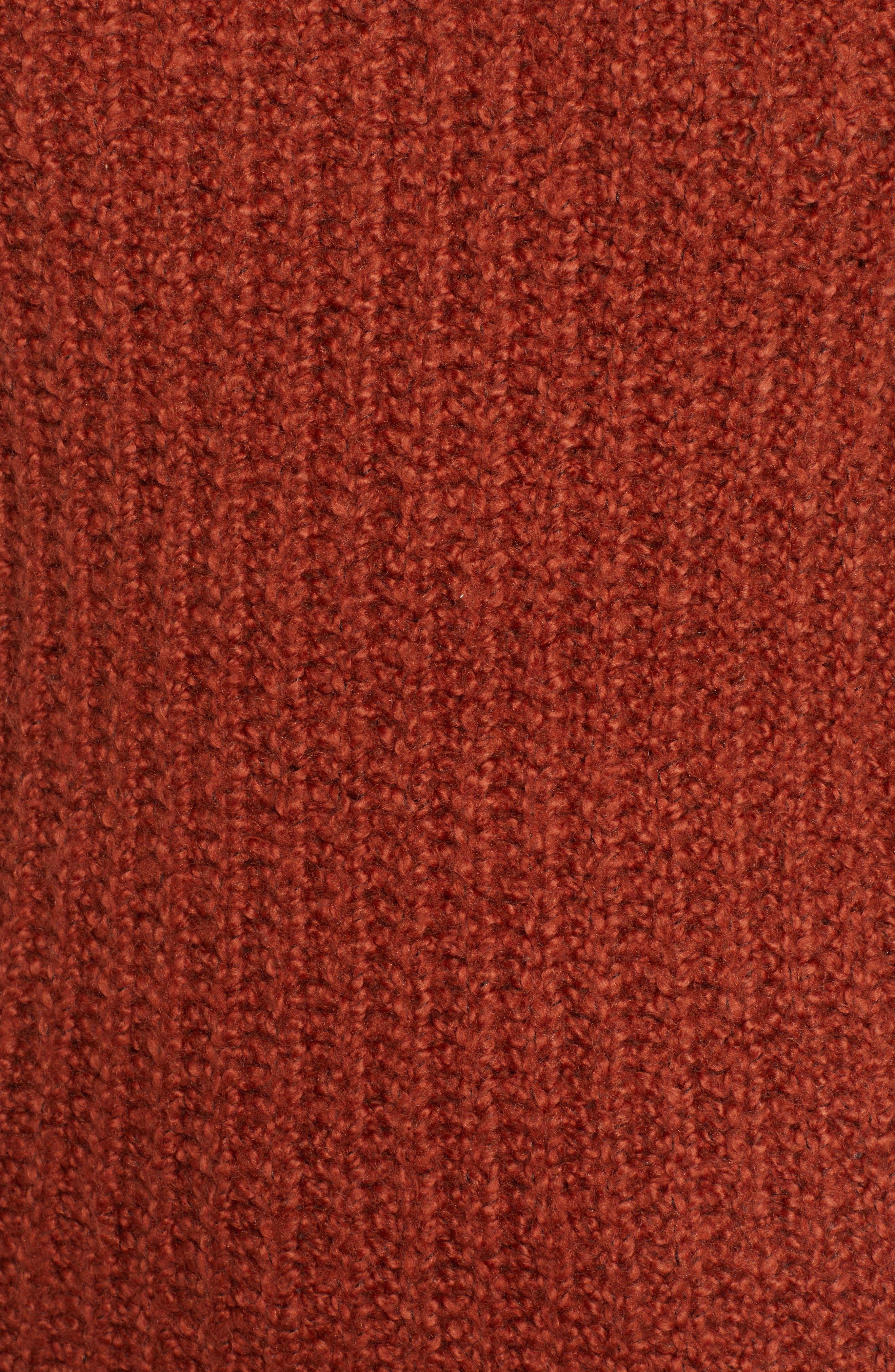 Cozy Turtleneck Sweater,                             Alternate thumbnail 5, color,                             RUST SEQUOIA