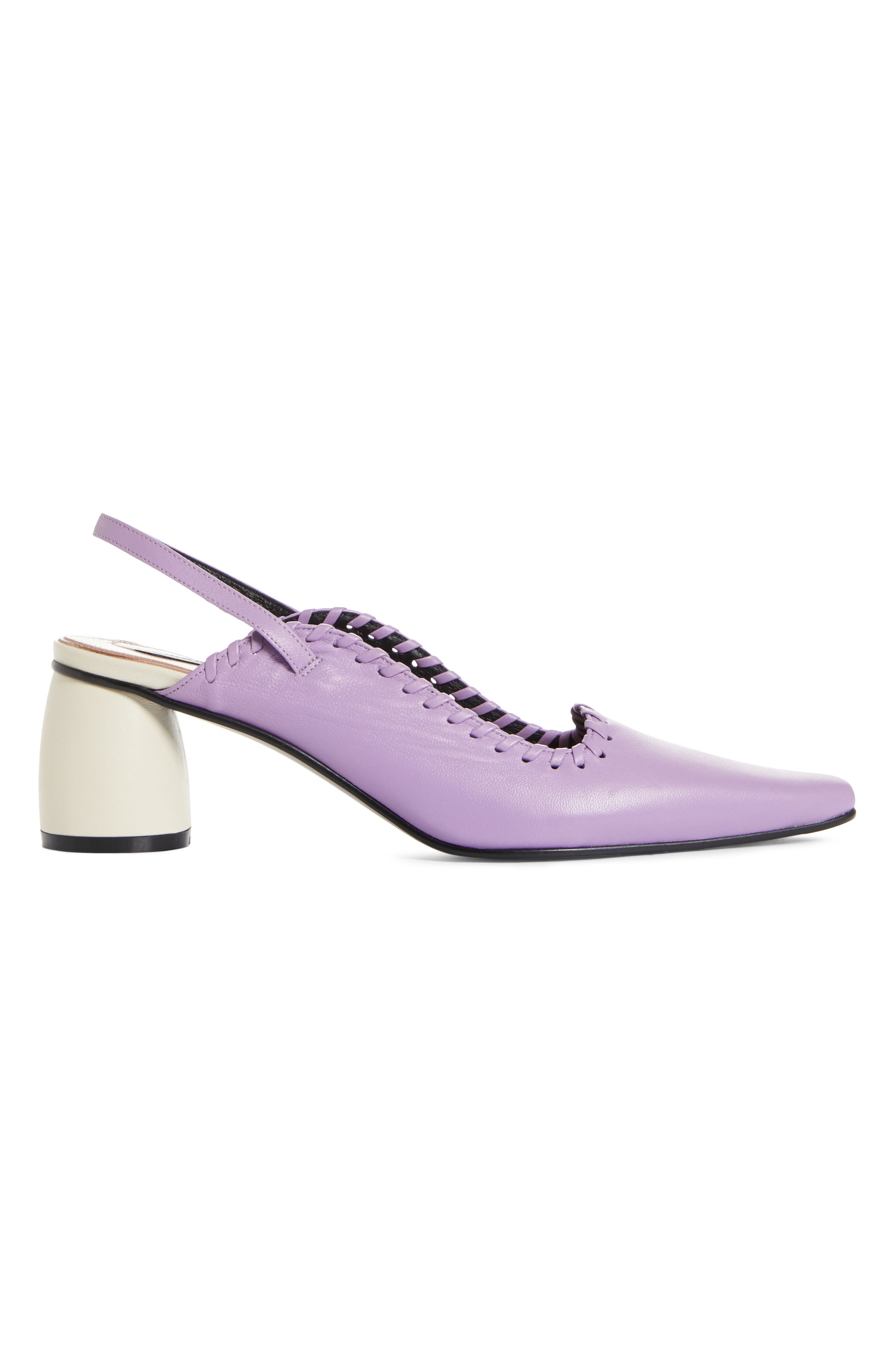Curved Middle Slingback Pump,                             Alternate thumbnail 3, color,                             PURPLE IVORY
