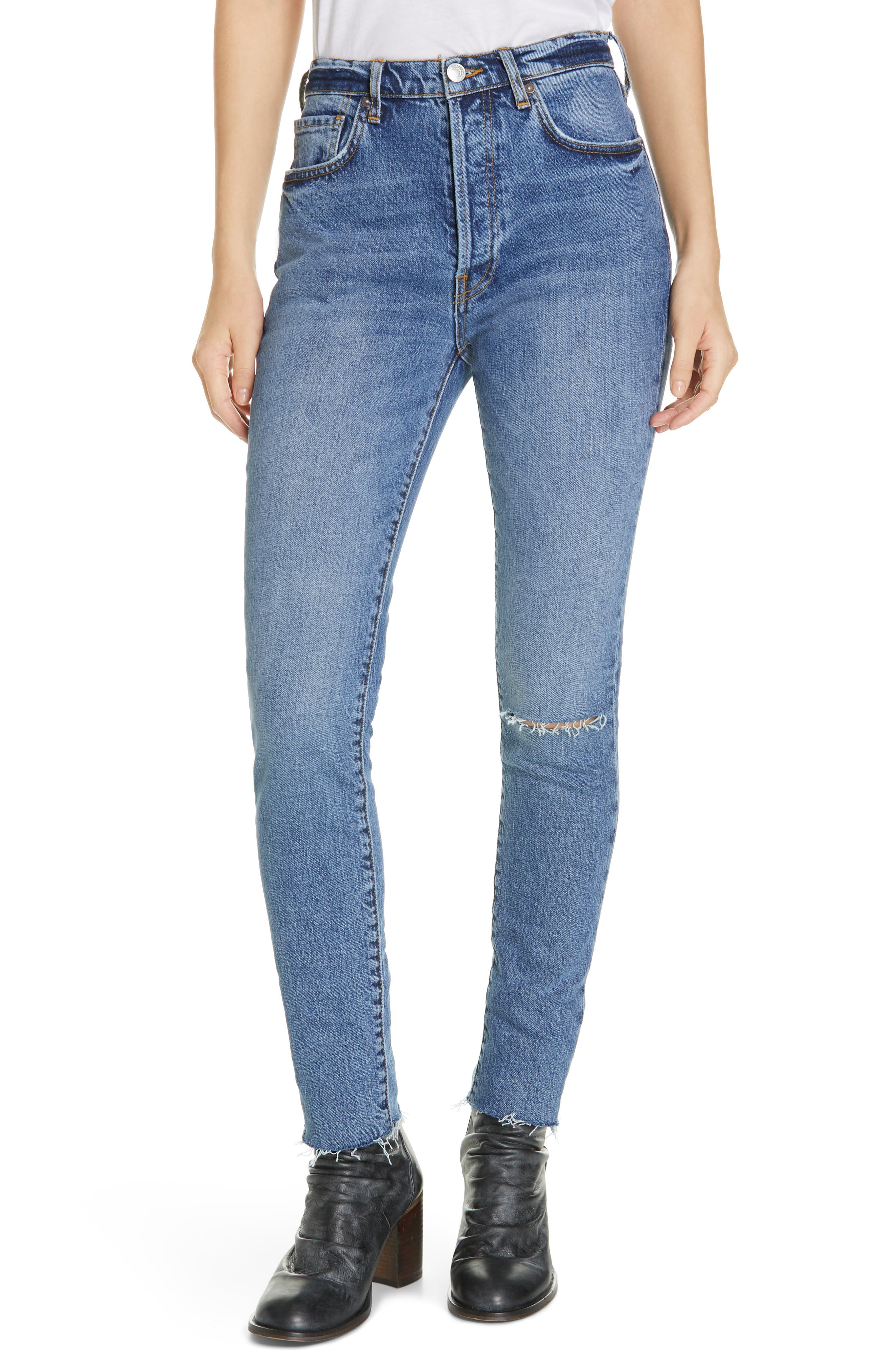 We the Free by Free People Stella High Waist Raw Hem Skinny Jeans,                             Main thumbnail 1, color,                             DARK BLUE