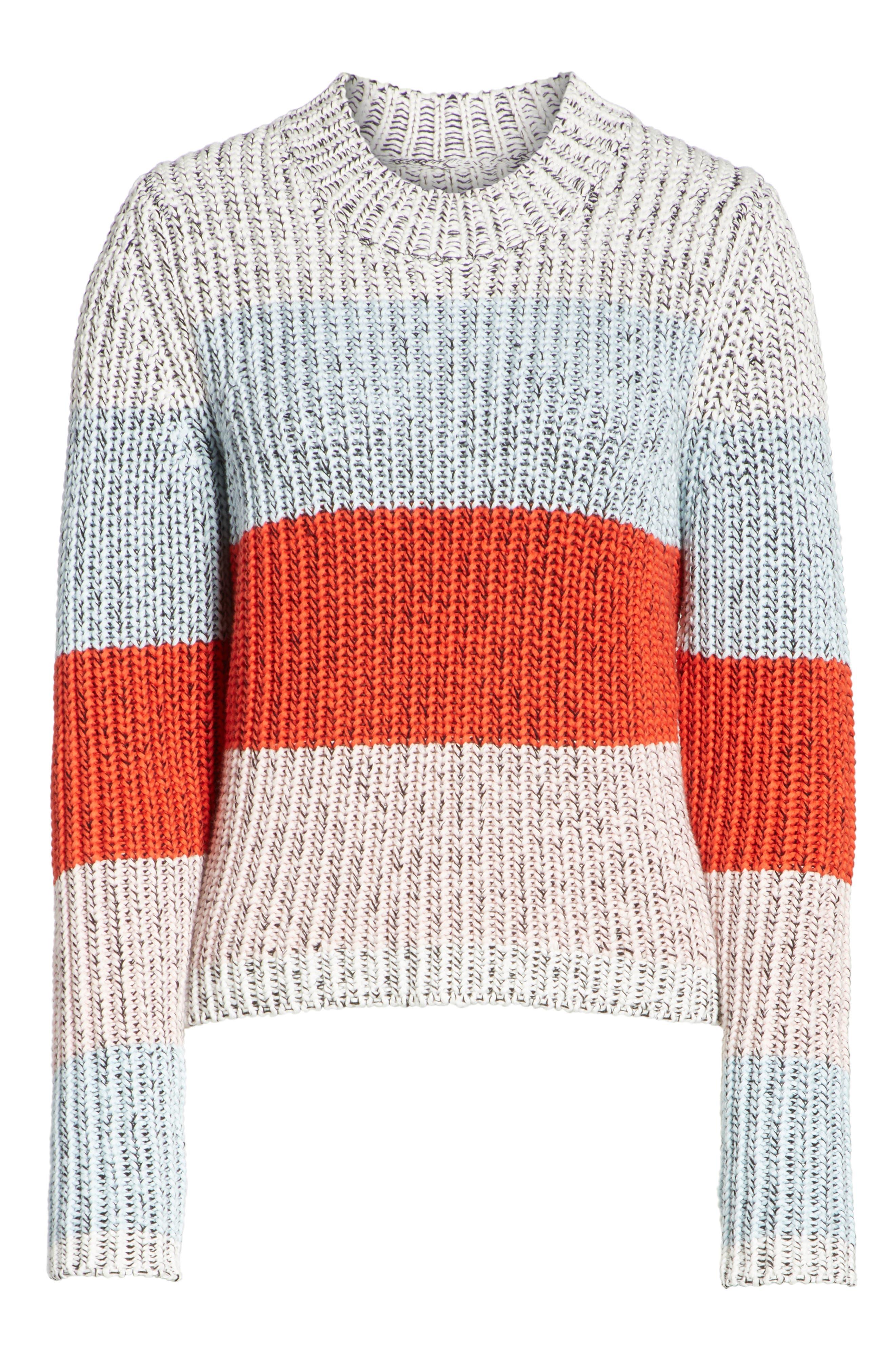 Chunky Crop Cotton Sweater,                             Alternate thumbnail 6, color,                             MULTI STRIPE