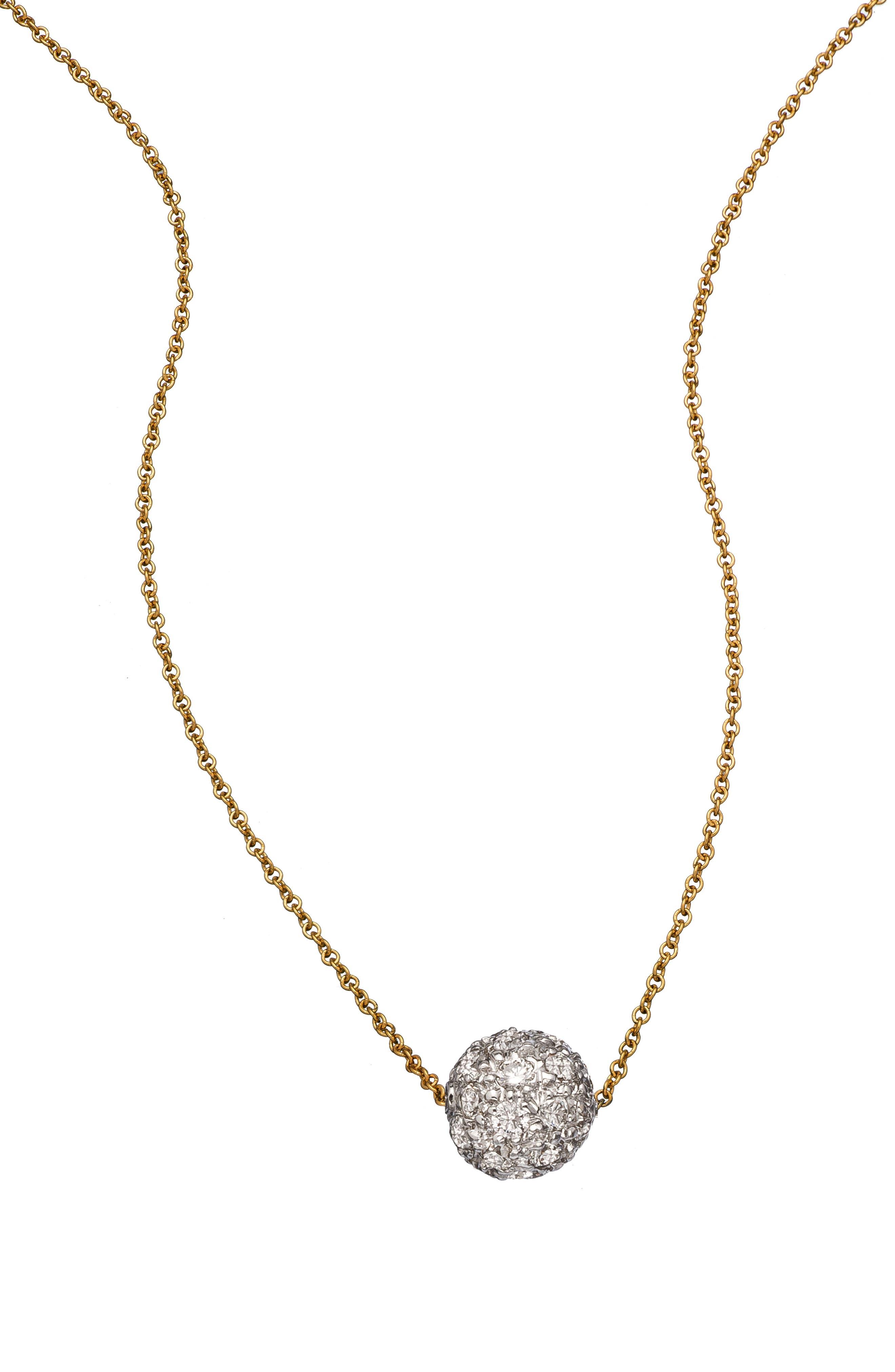 SETHI COUTURE Diamond Pave Ball Pendant Necklace in Yellow Gold/ Diamond