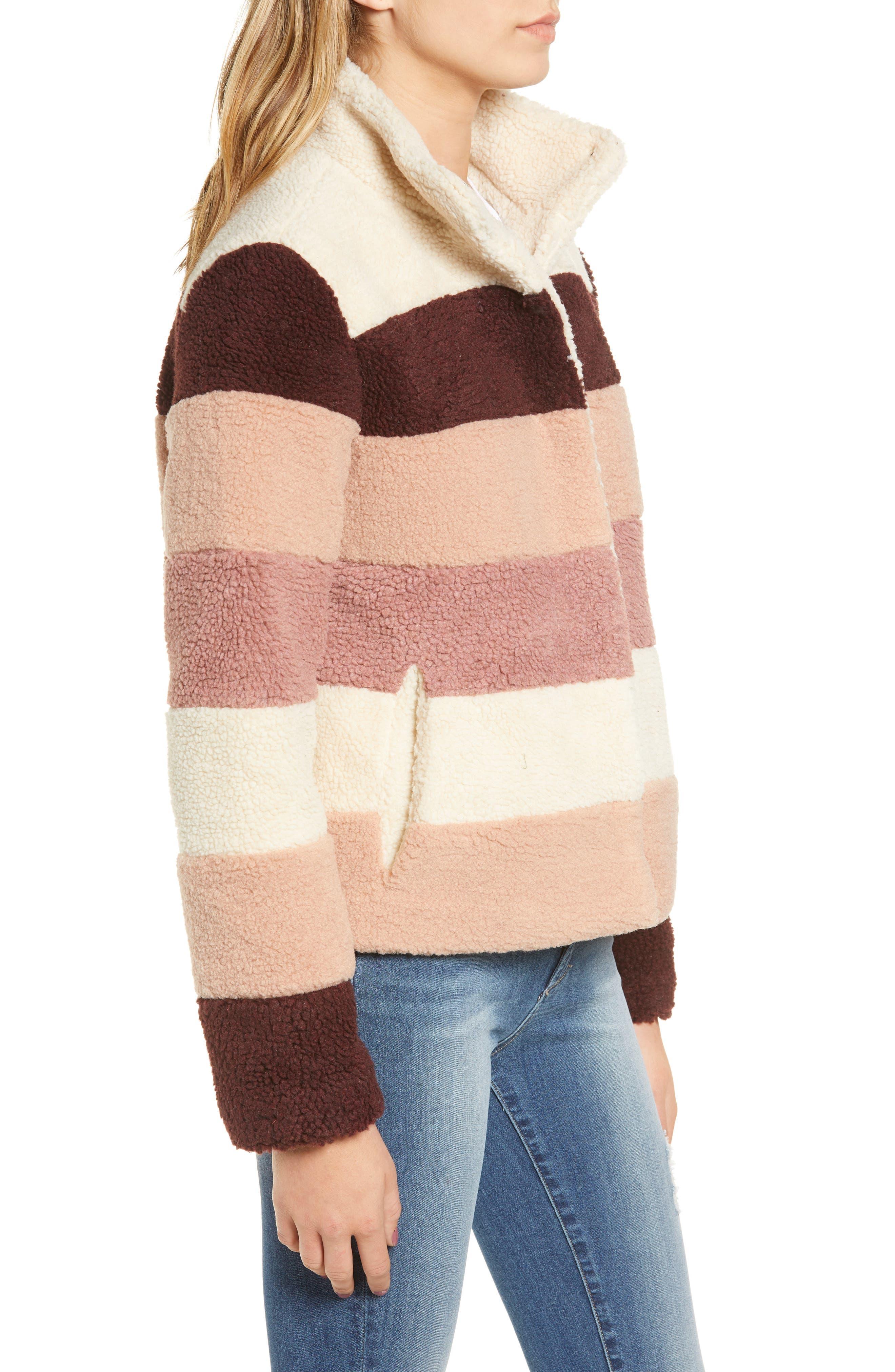 Stripe Faux Shearling Jacket,                             Alternate thumbnail 3, color,                             IVORY EGRET MUTLI STRIPE