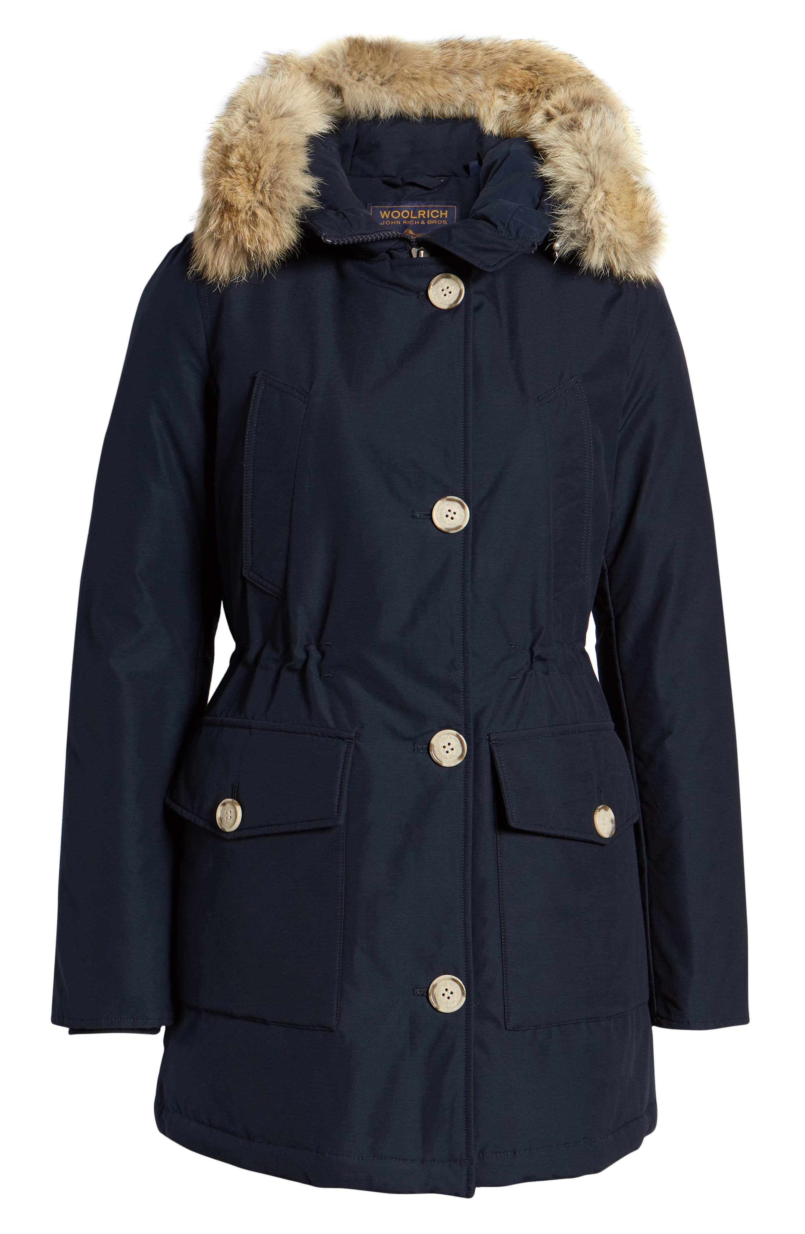 WOOLRICH,                             'Arctic' Water Resistant 550-Fill Power Down Parka with Genuine Coyote Fur Trim,                             Alternate thumbnail 6, color,                             400