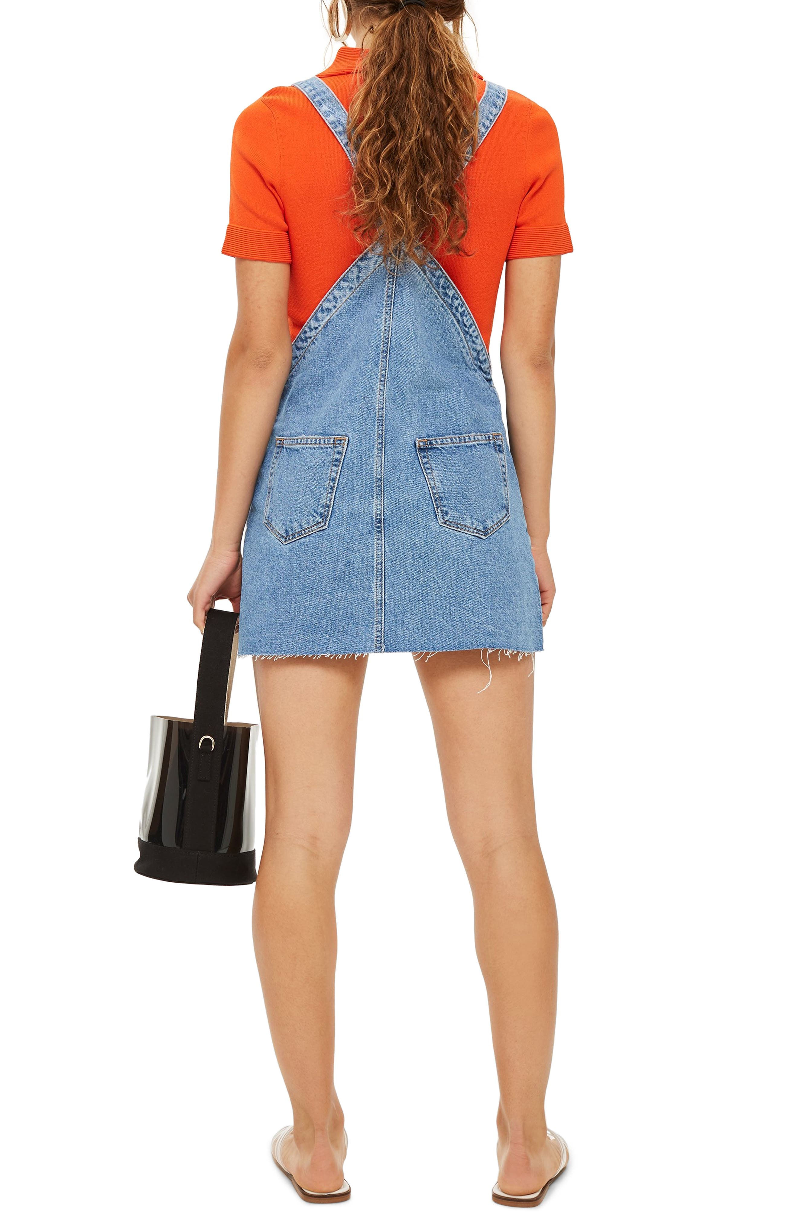 Raw Hem Denim Pinafore Dress,                             Alternate thumbnail 2, color,                             420