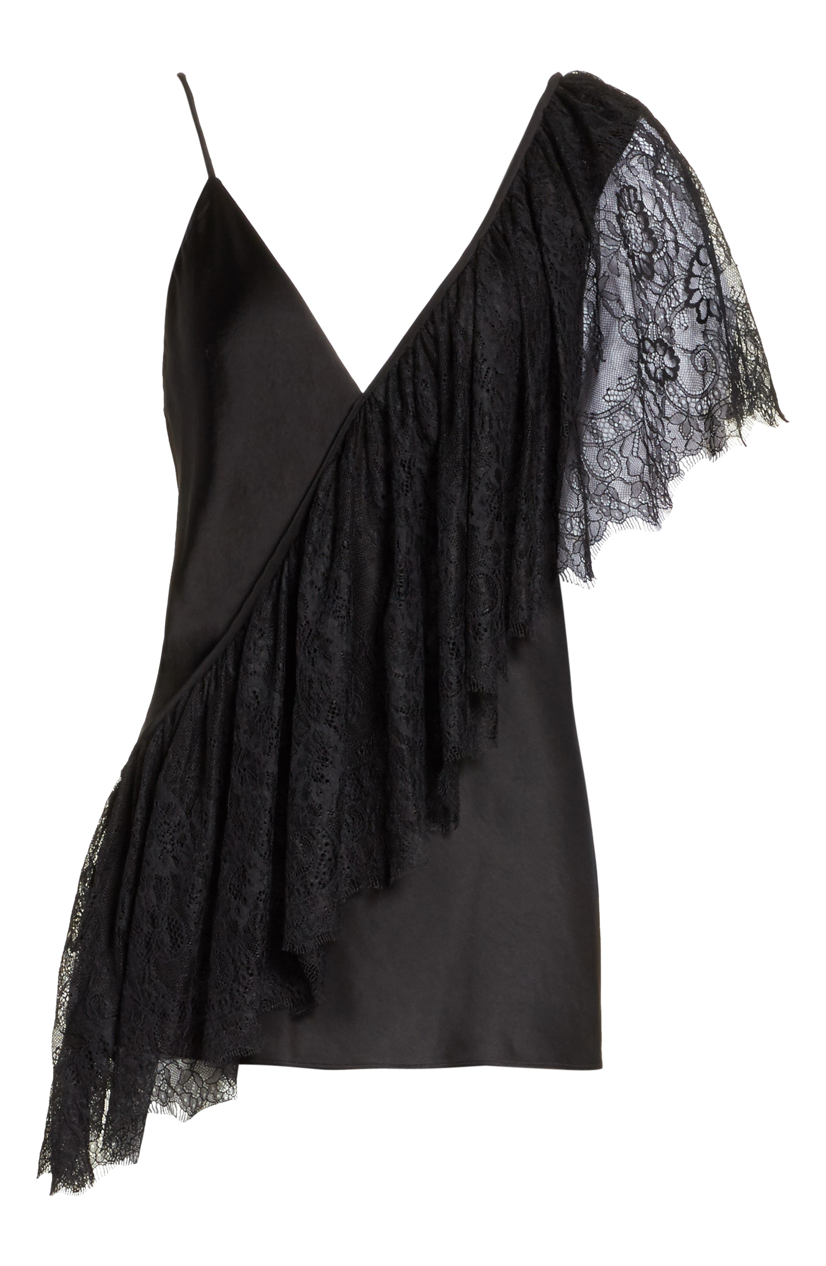 Diane von Furstenberg Asymmetrical Ruffle Lace Top,                             Alternate thumbnail 5, color,