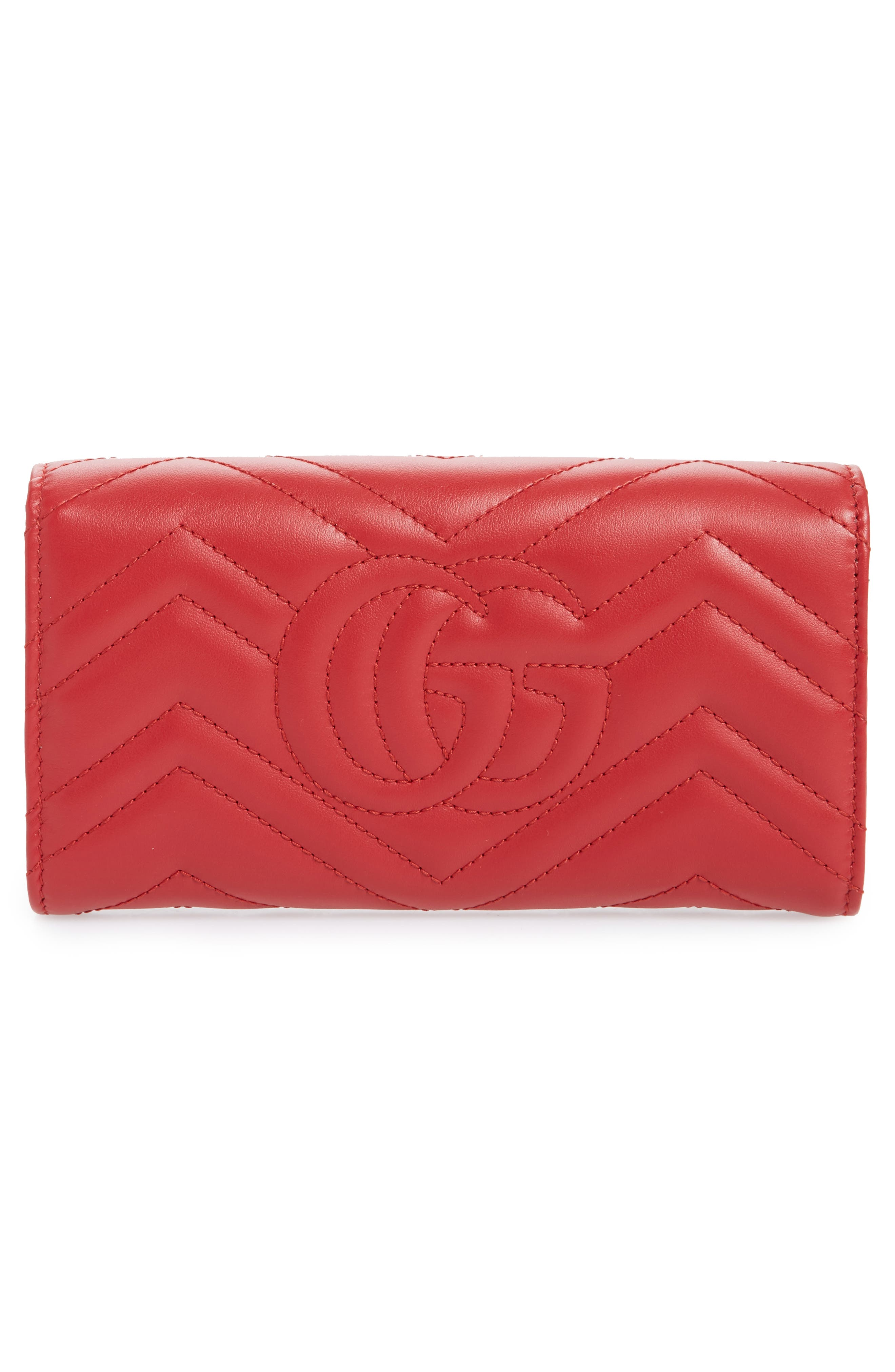 Marmont 2.0 Leather Continental Wallet,                             Alternate thumbnail 3, color,                             HIBISCUS RED