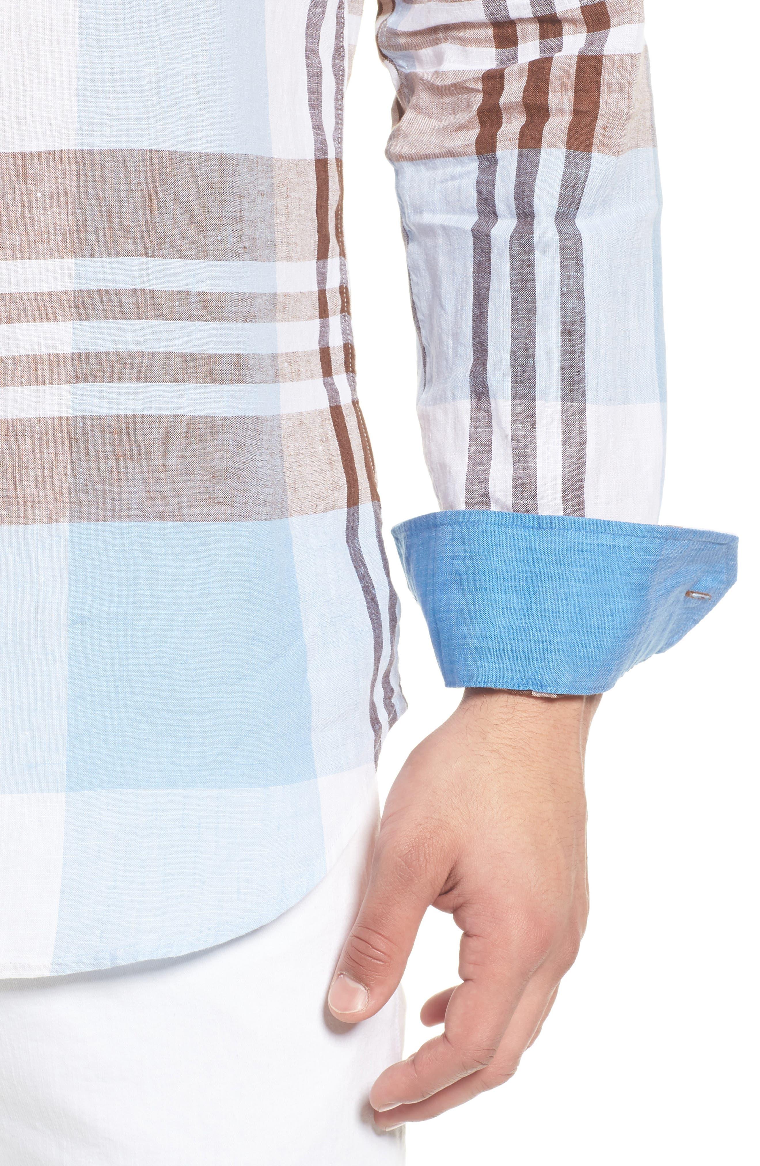Shaped Fit Plaid Linen Blend Sport Shirt,                             Alternate thumbnail 4, color,