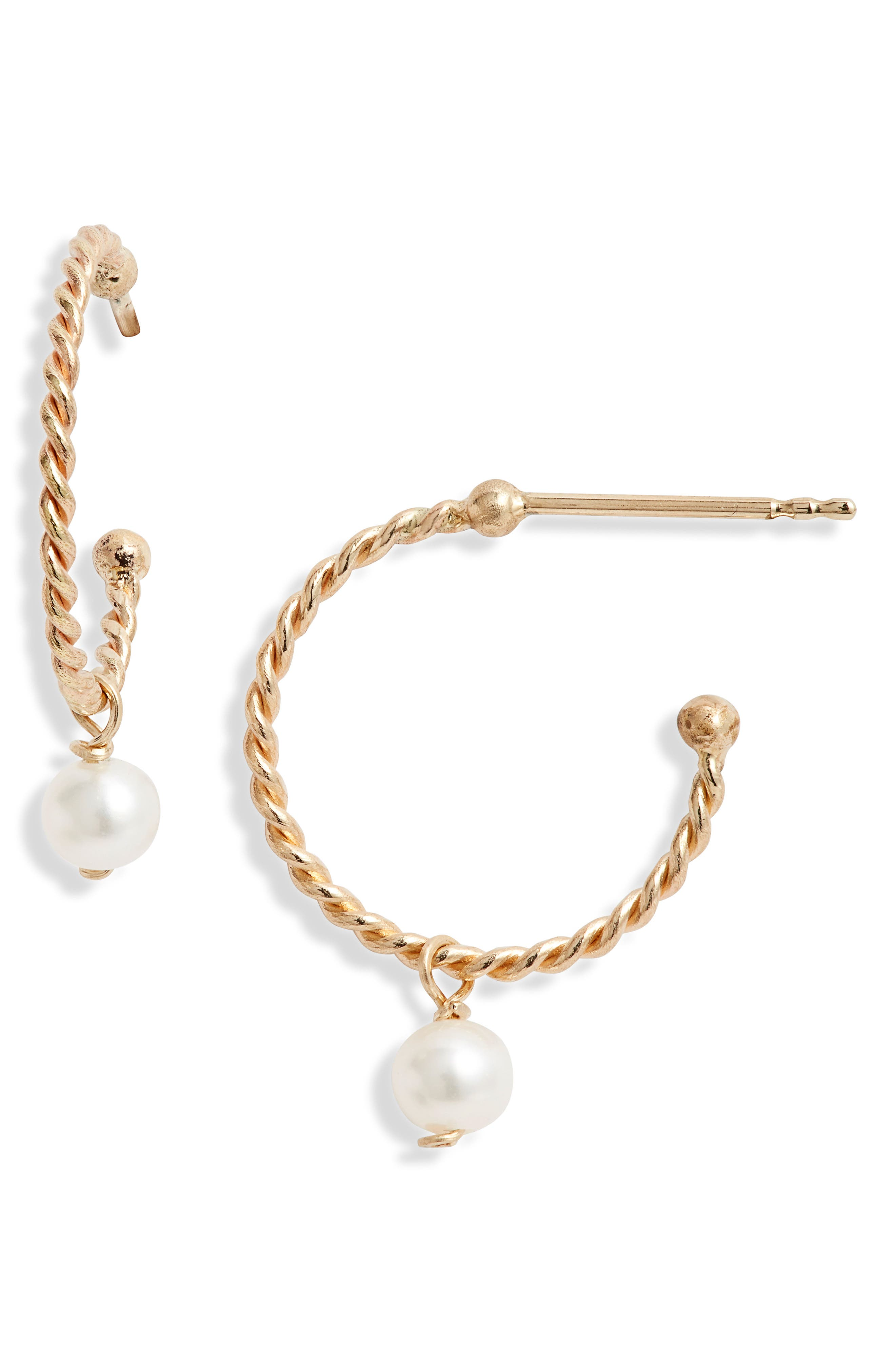 POPPY FINCH,                             Baby Pearl Hoop Earrings,                             Main thumbnail 1, color,                             YELLOW GOLD