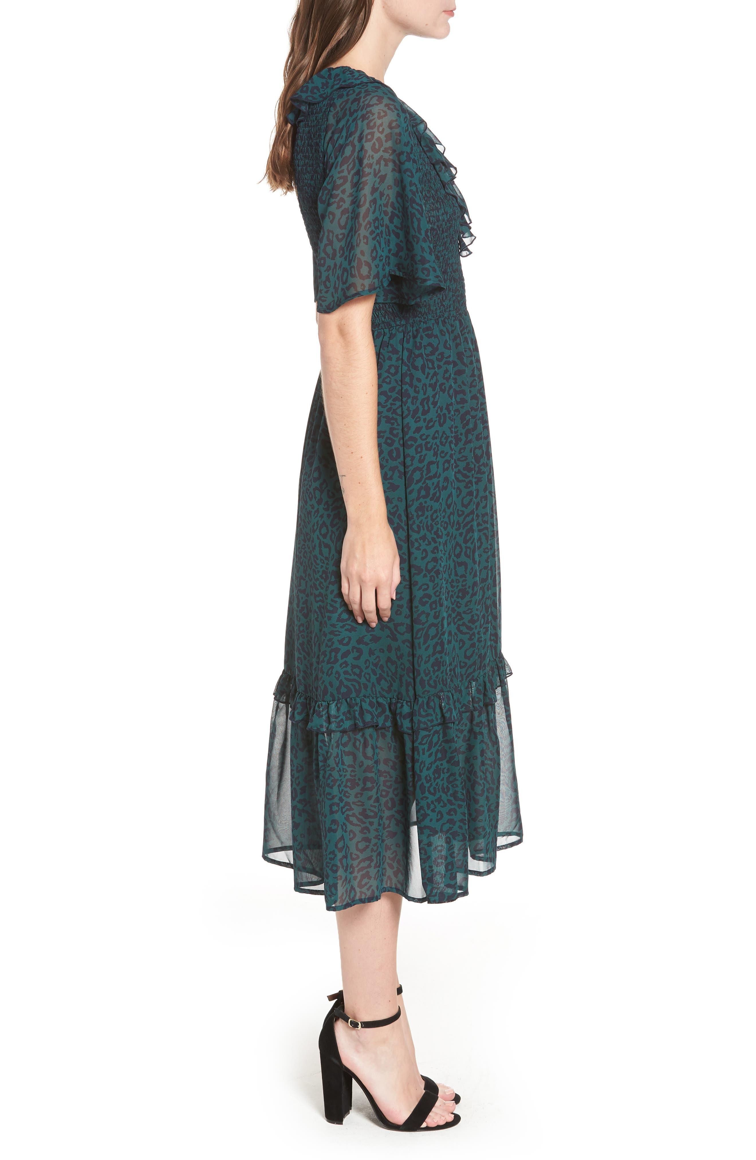 Leopard Print Smocked Dress,                             Alternate thumbnail 3, color,                             GREEN LEOPARD