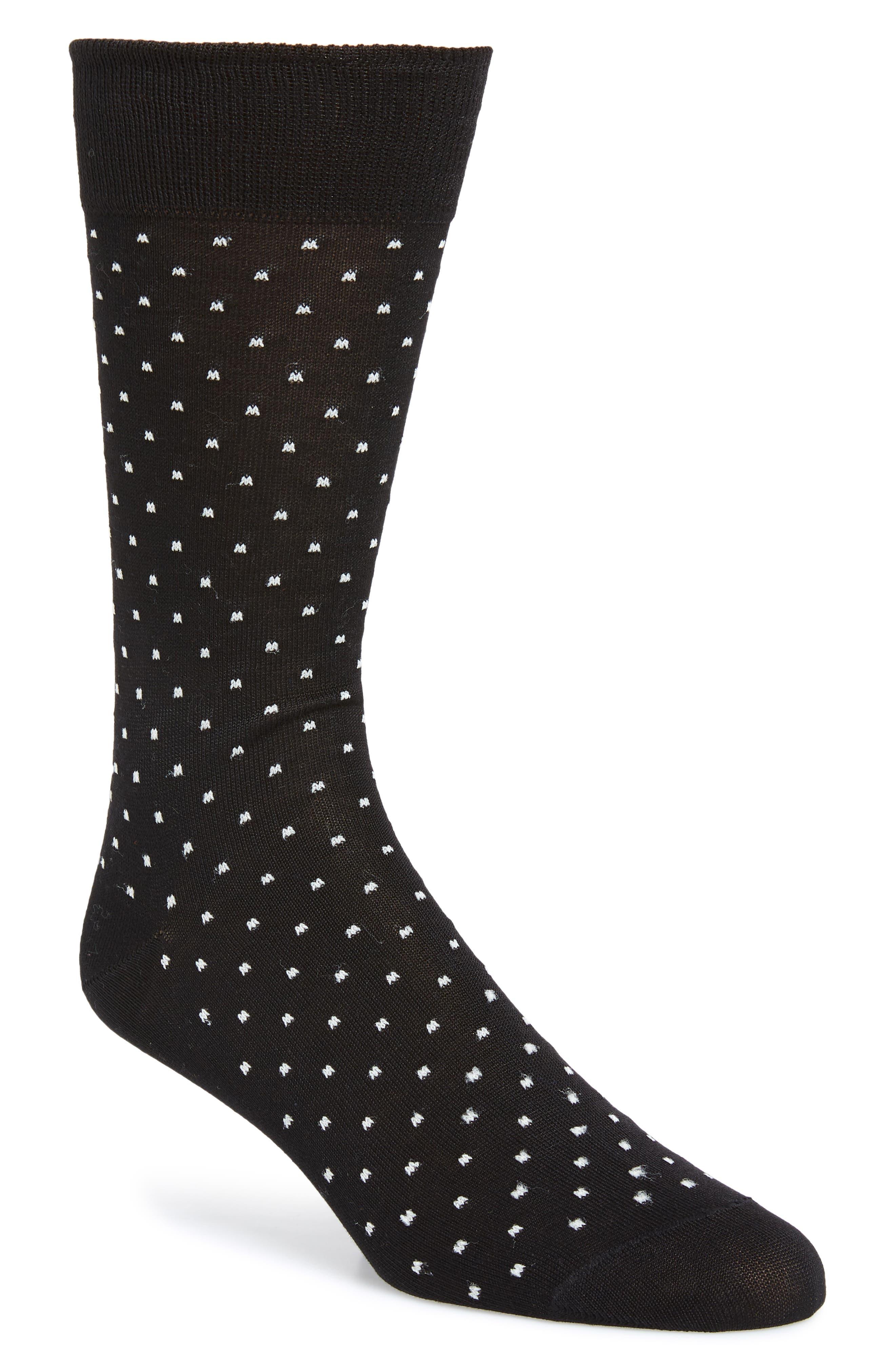 Dot Socks,                         Main,                         color, BLACK