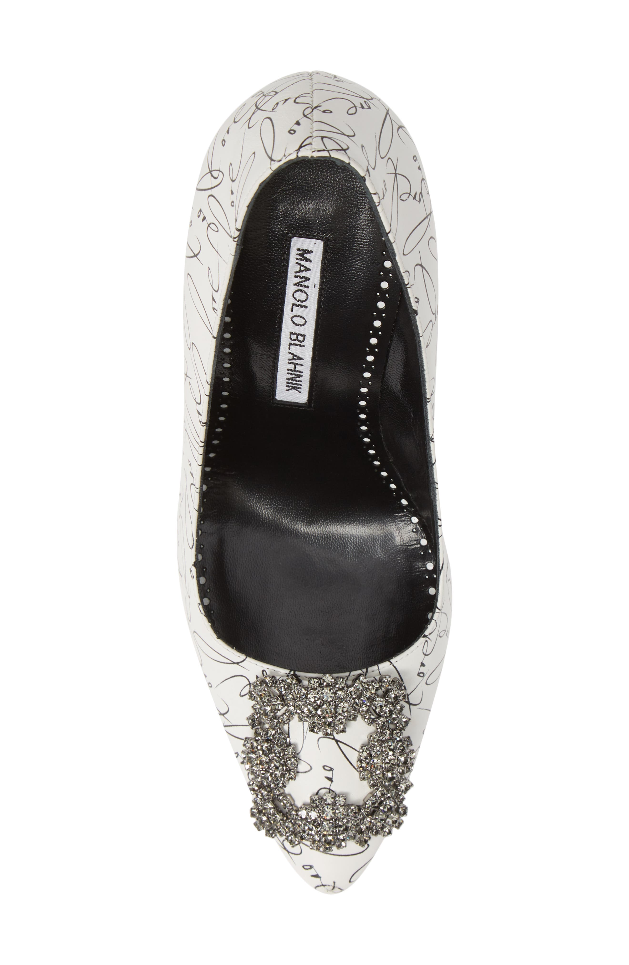 MANOLO BLAHNIK,                             Decade of Love Hangisi Anniversary Embellished Pump,                             Alternate thumbnail 5, color,                             WHITE LEATHER