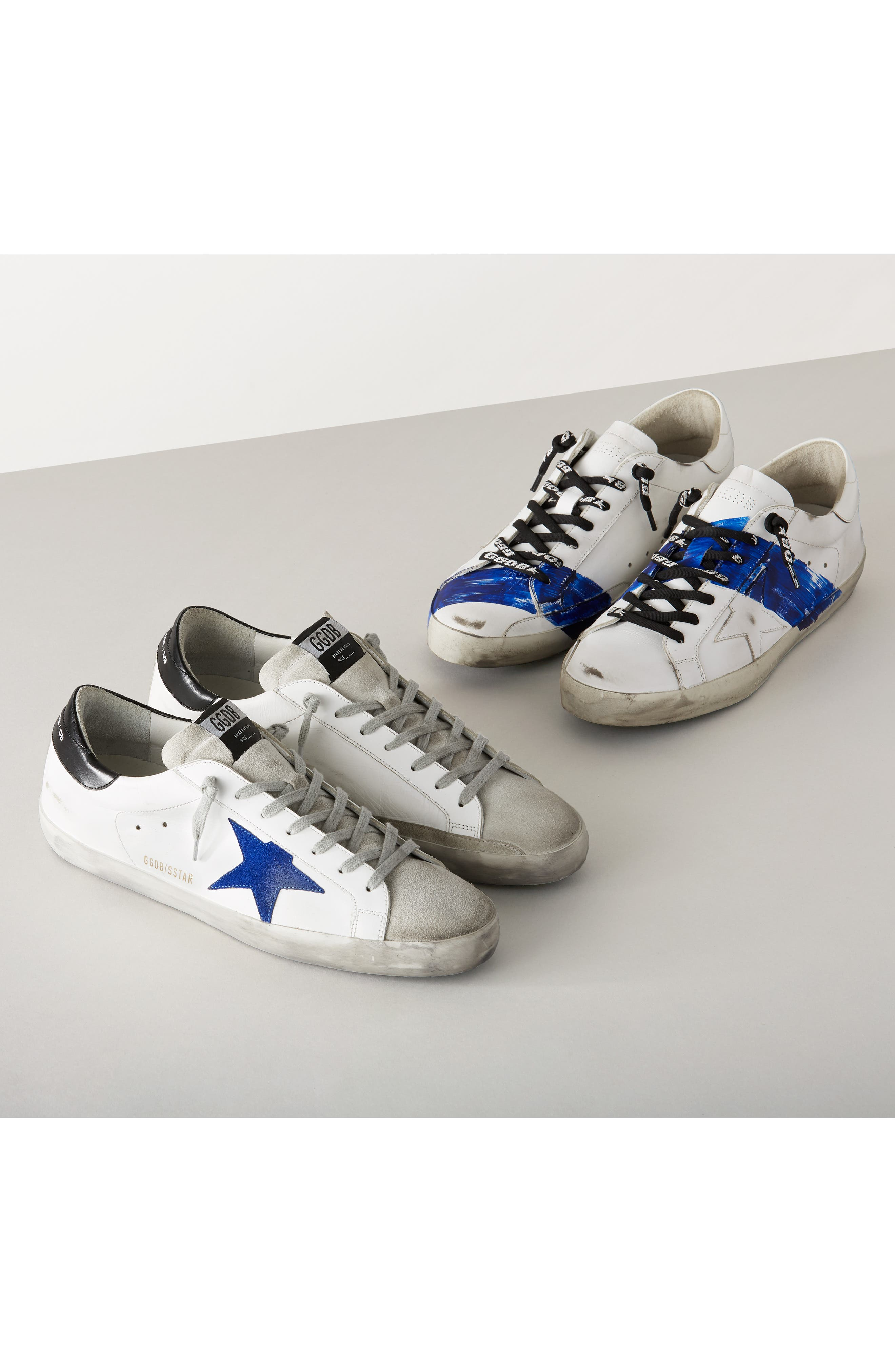 Superstar Distressed Sneaker,                             Alternate thumbnail 7, color,                             WHITE-BLUE STRIPE