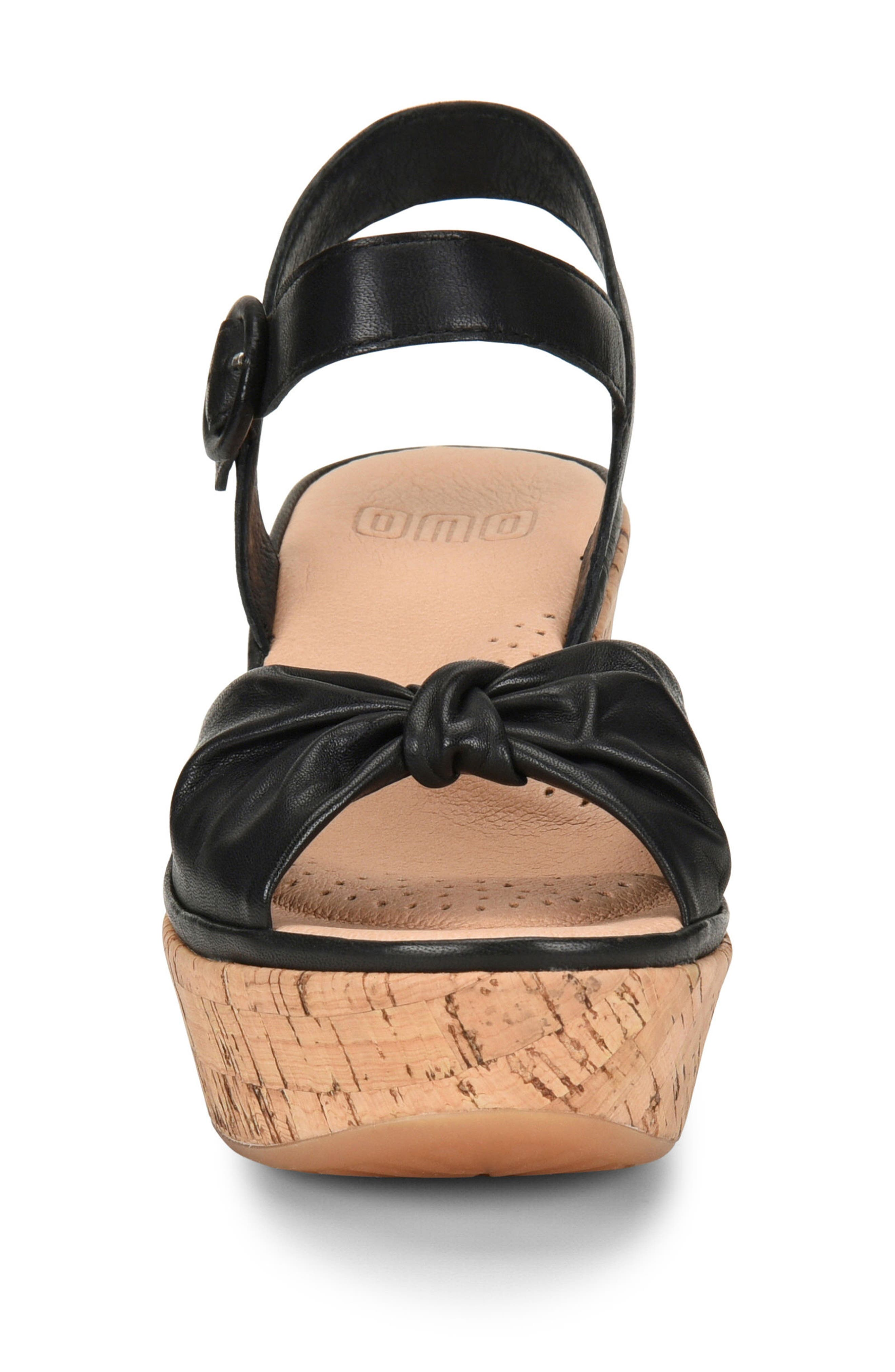 Heavenly Platform Wedge Sandal,                             Alternate thumbnail 4, color,                             BLACK LEATHER