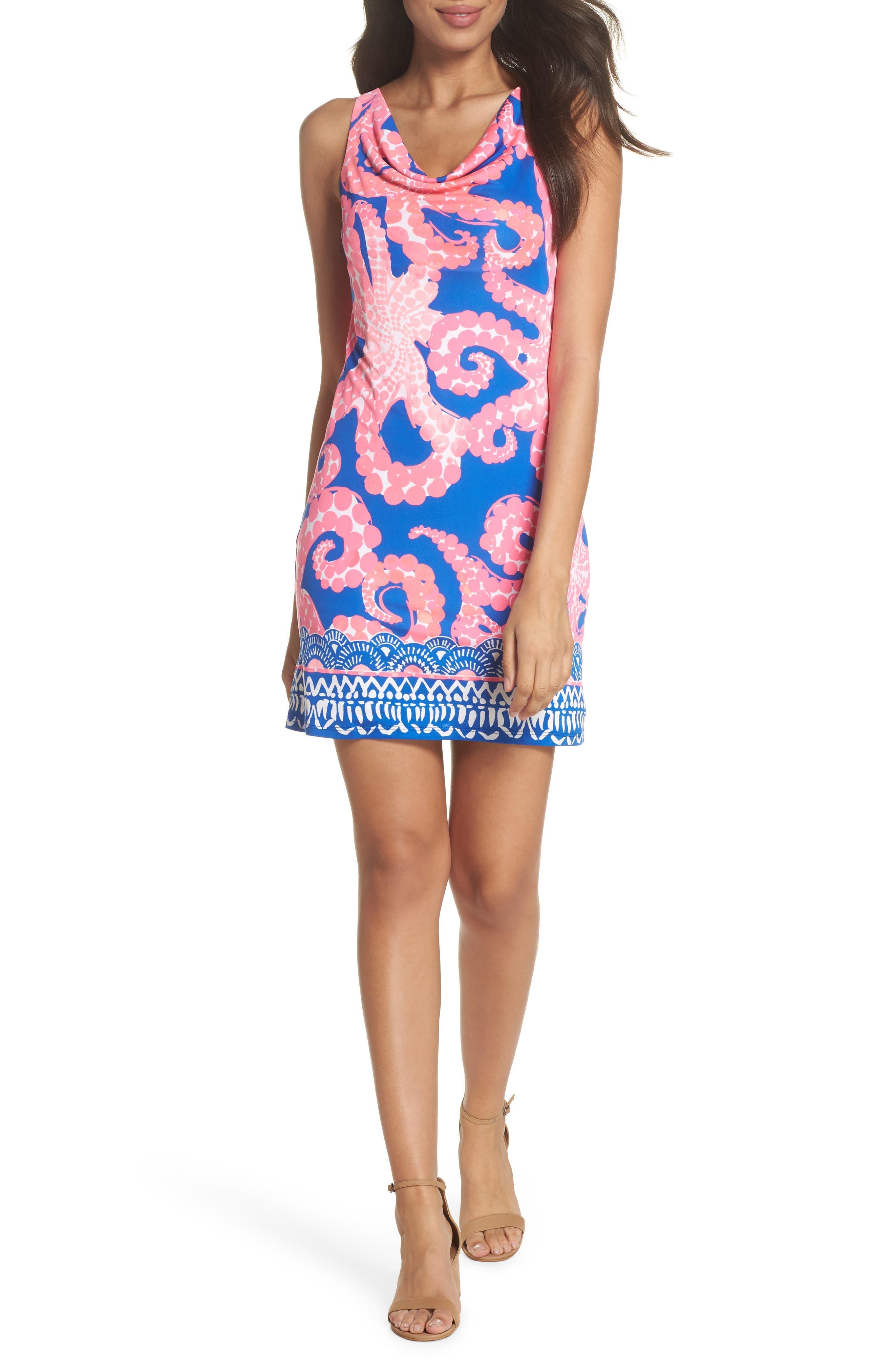 Kyra Silk Shift Dress,                             Alternate thumbnail 5, color,                             400