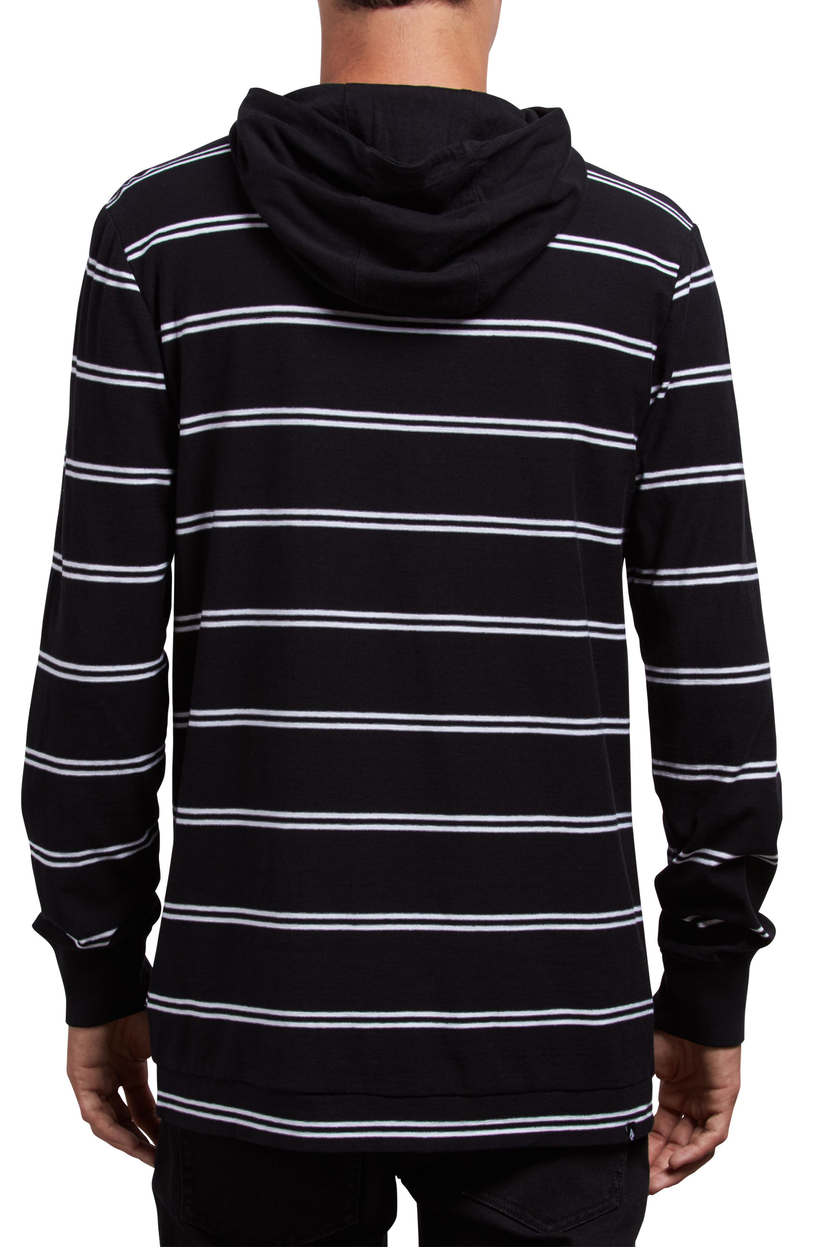 Randall Striped Pullover Hoodie,                             Alternate thumbnail 2, color,                             BLACK