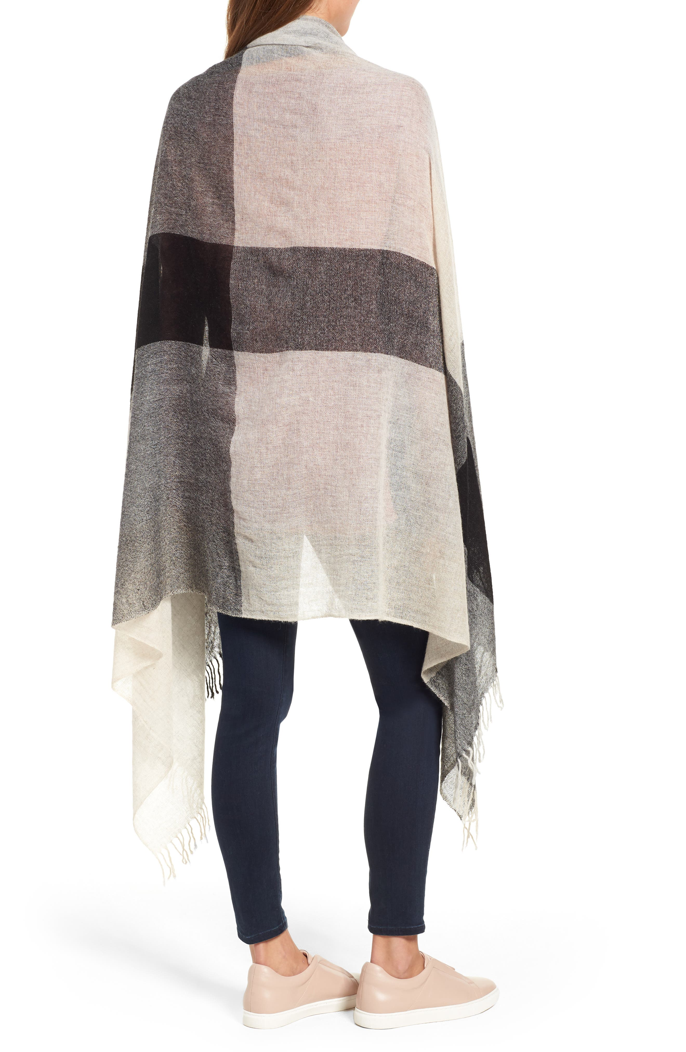 Plaid Cashmere Wrap,                             Alternate thumbnail 2, color,                             BLACK COMBO