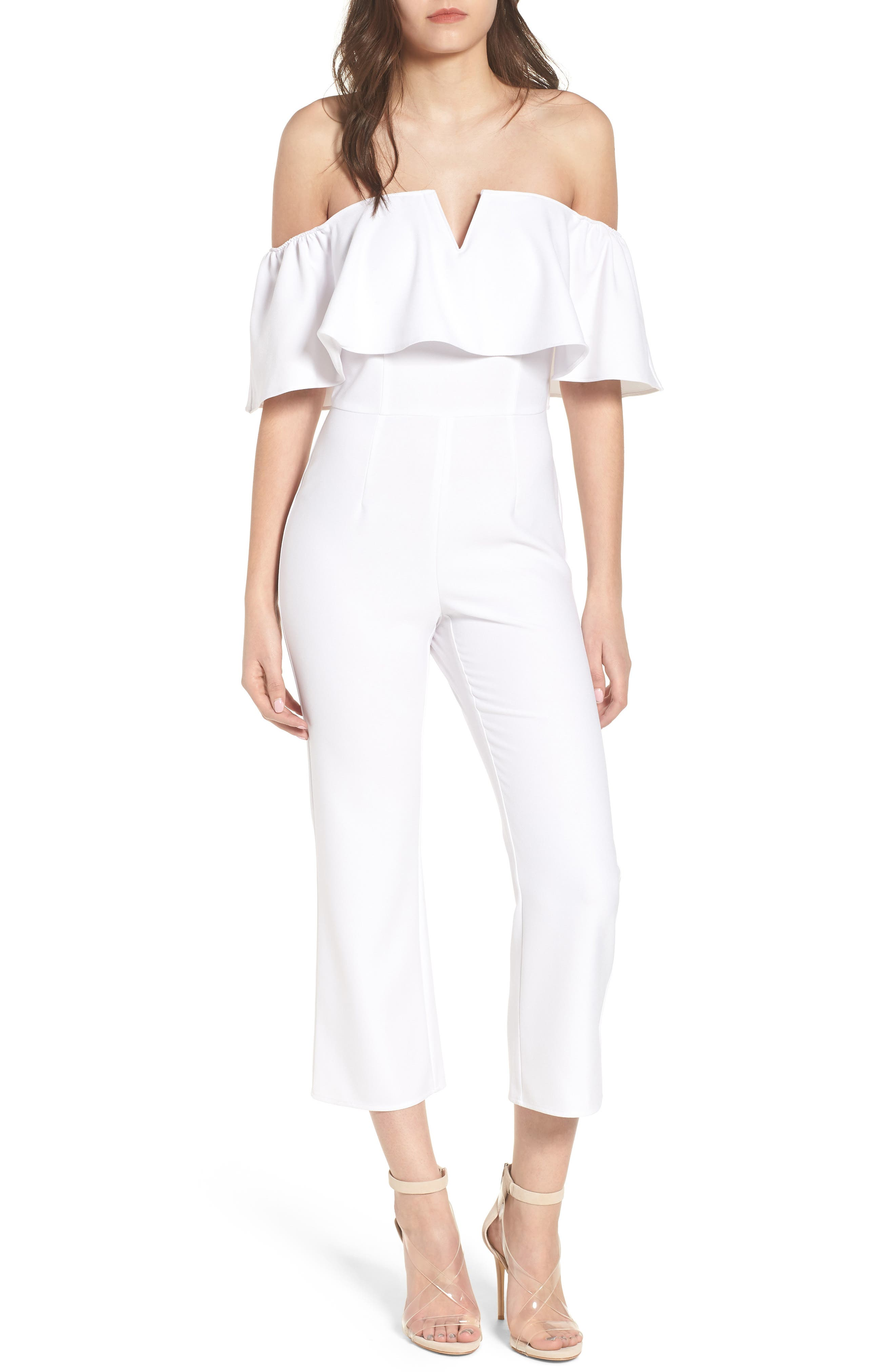 Strapless Off the Shoulder Jumpsuit,                             Main thumbnail 1, color,                             WHITE