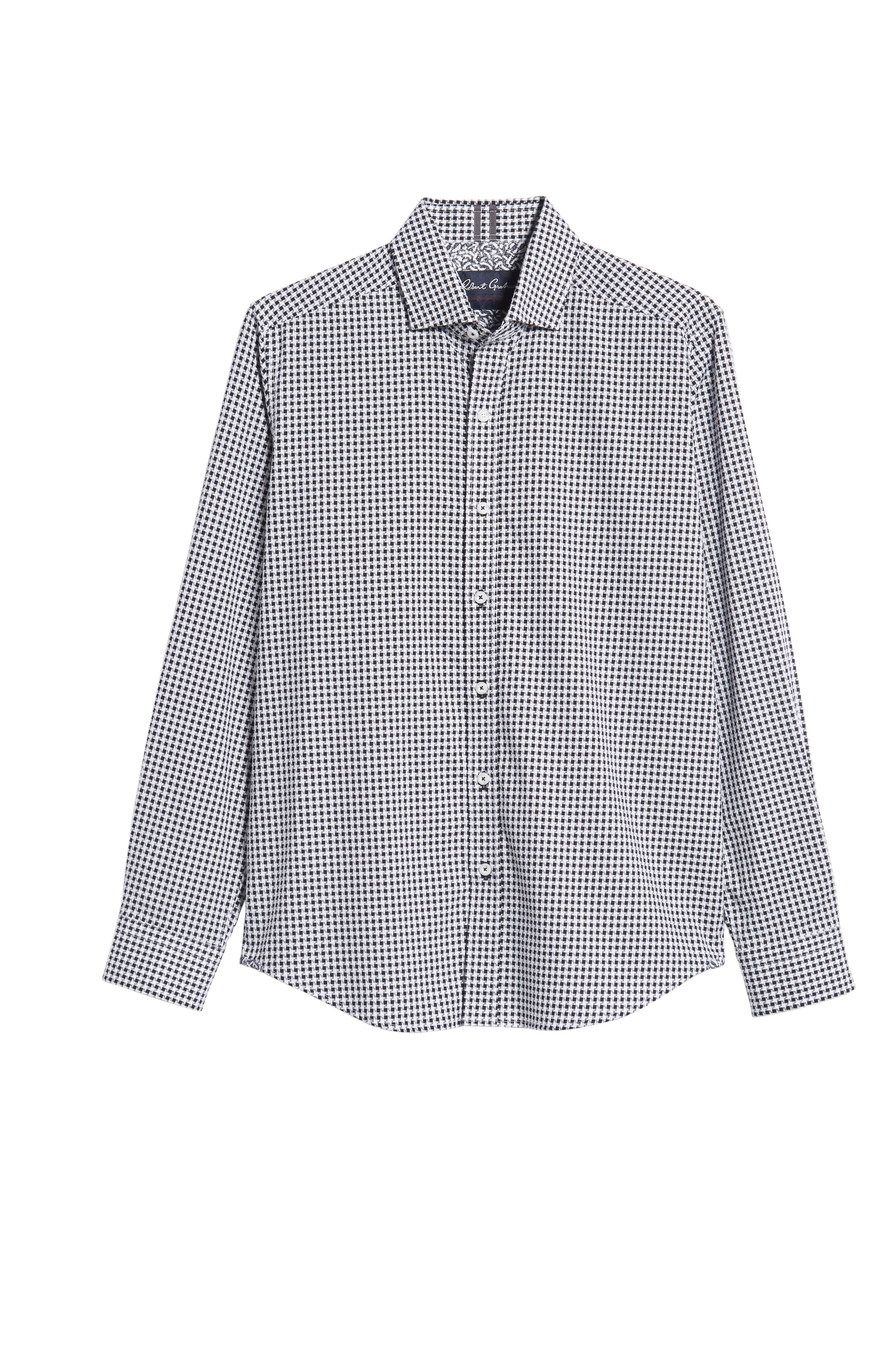 Emmett Tailored Fit Sport Shirt,                             Alternate thumbnail 5, color,                             BLACK