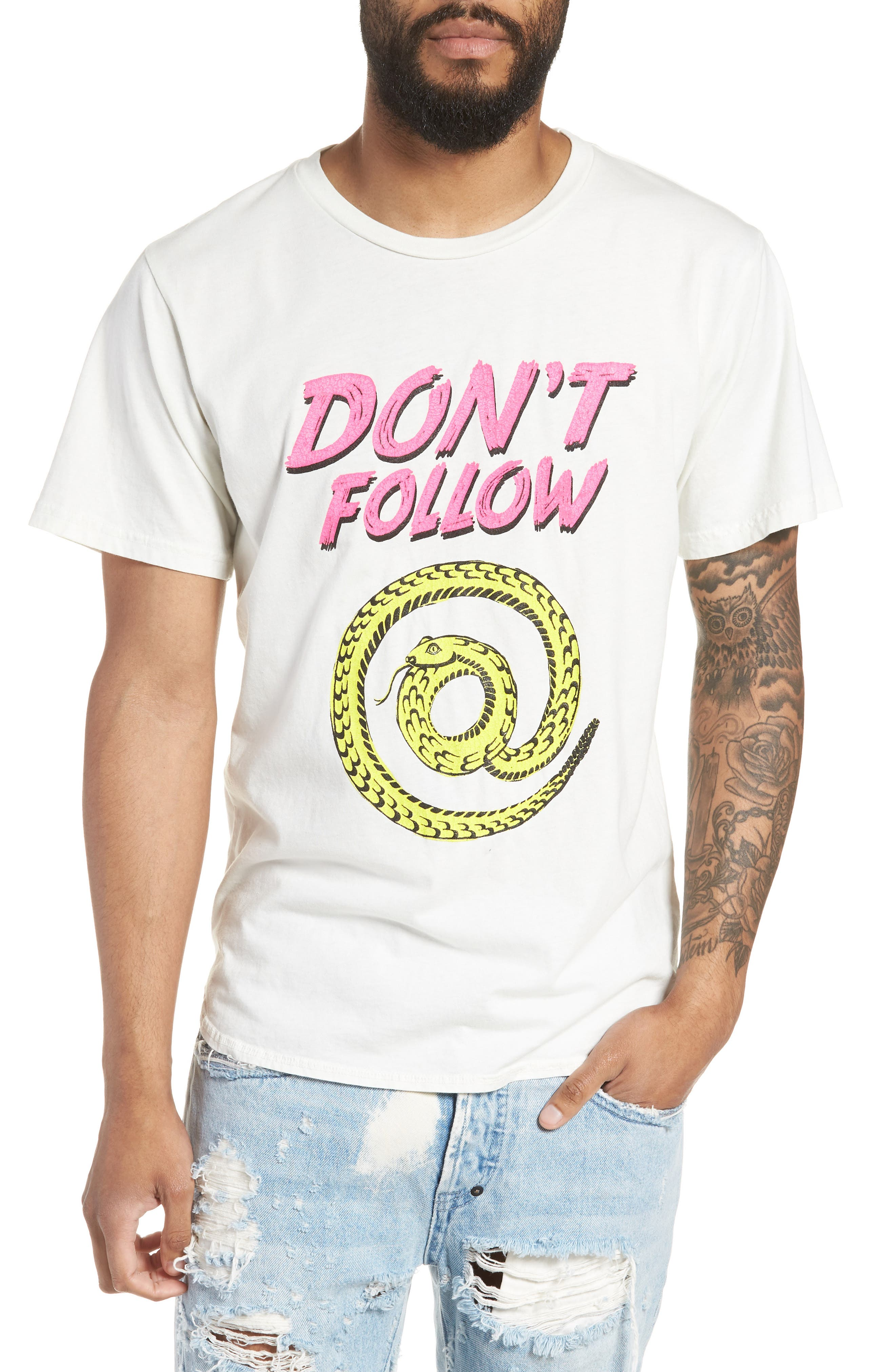Don't Follow Crewneck T-shirt,                         Main,                         color, CHALK WHITE