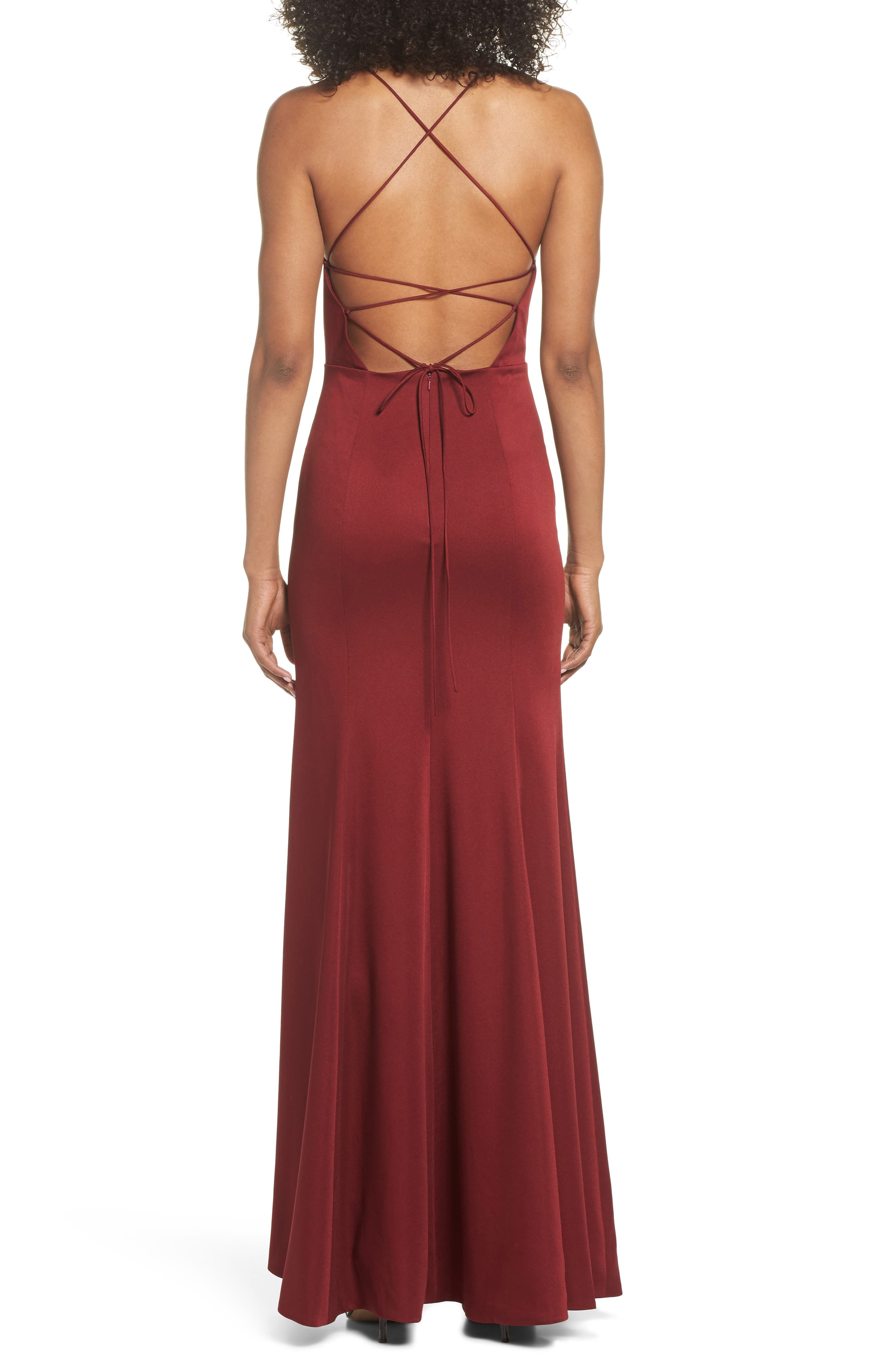Naomi Luxe Crepe Halter Gown,                             Alternate thumbnail 2, color,                             CRANBERRY