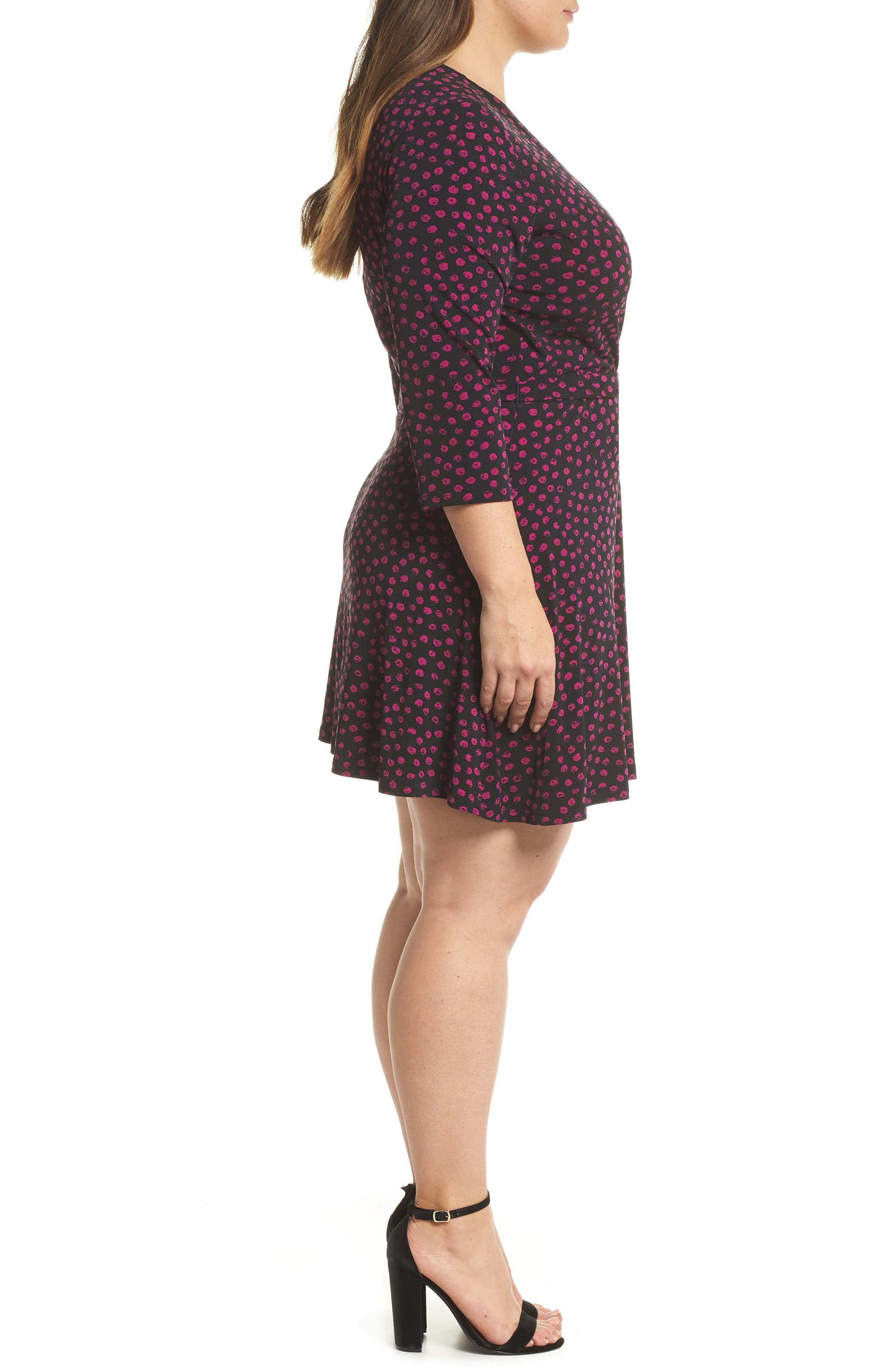 Perfect Faux Wrap Jersey Dress,                             Alternate thumbnail 3, color,                             APPALOOSA BLACK