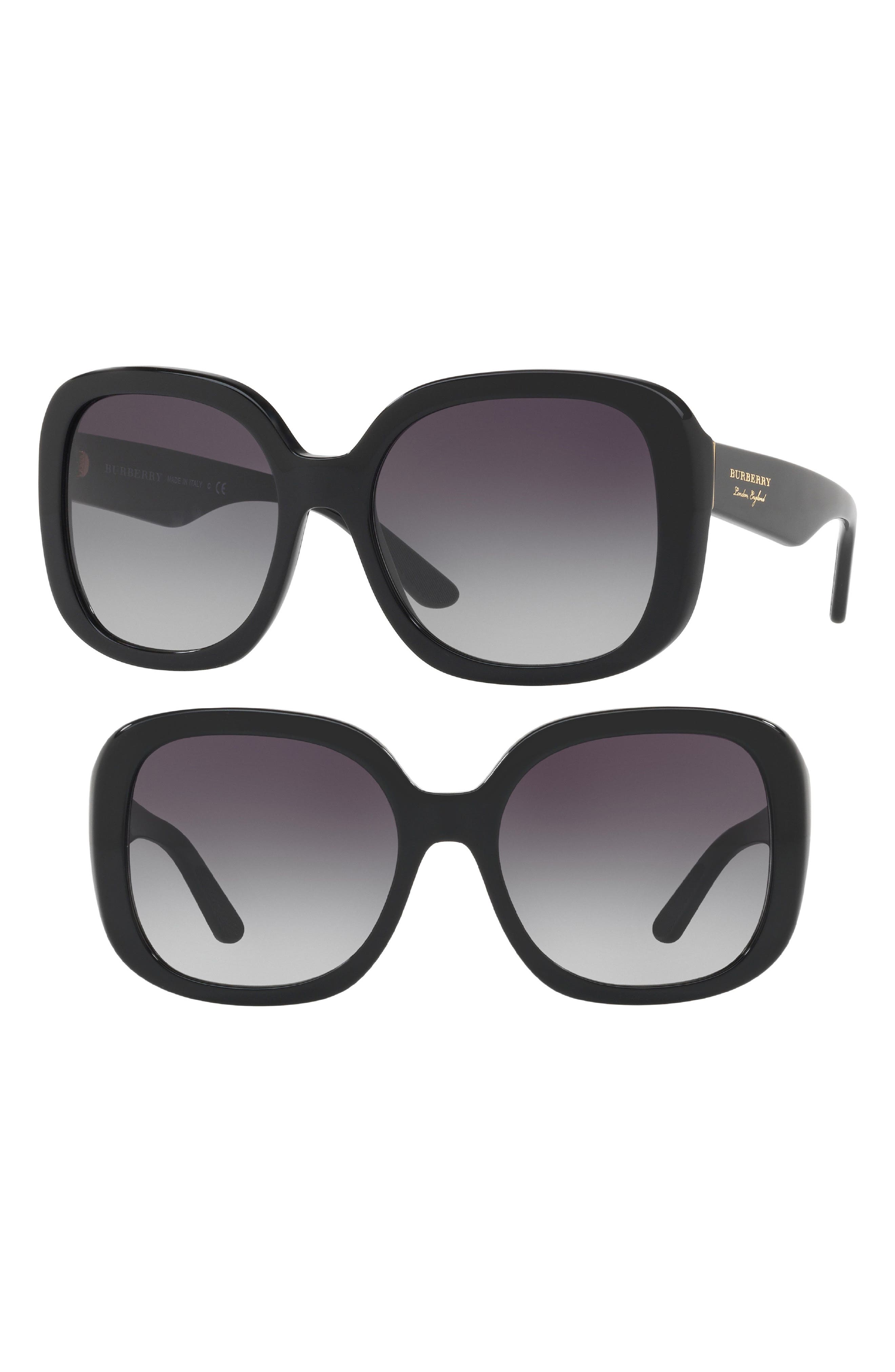 56mm Gradient Sunglasses,                             Alternate thumbnail 2, color,                             BLACK