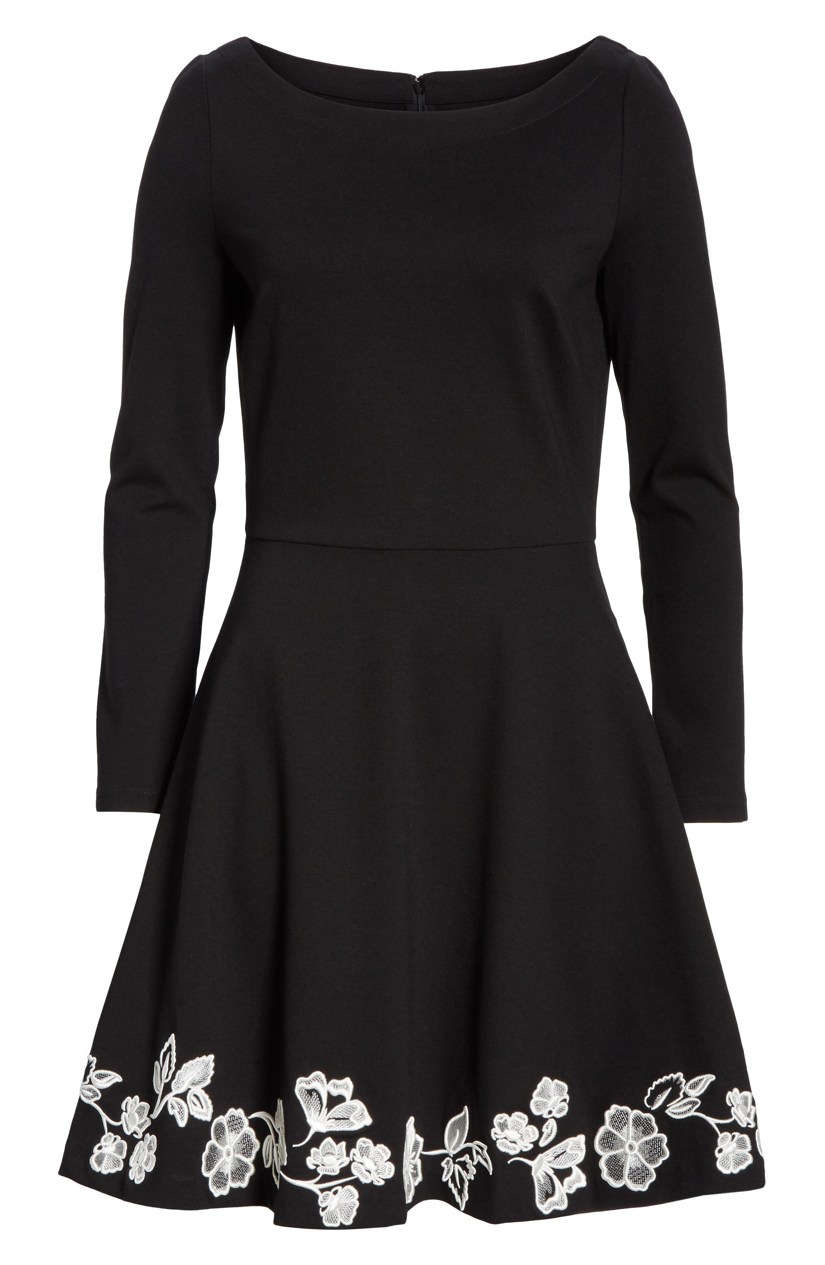 embroidered ponte fit & flare dress,                             Alternate thumbnail 6, color,                             BLACK