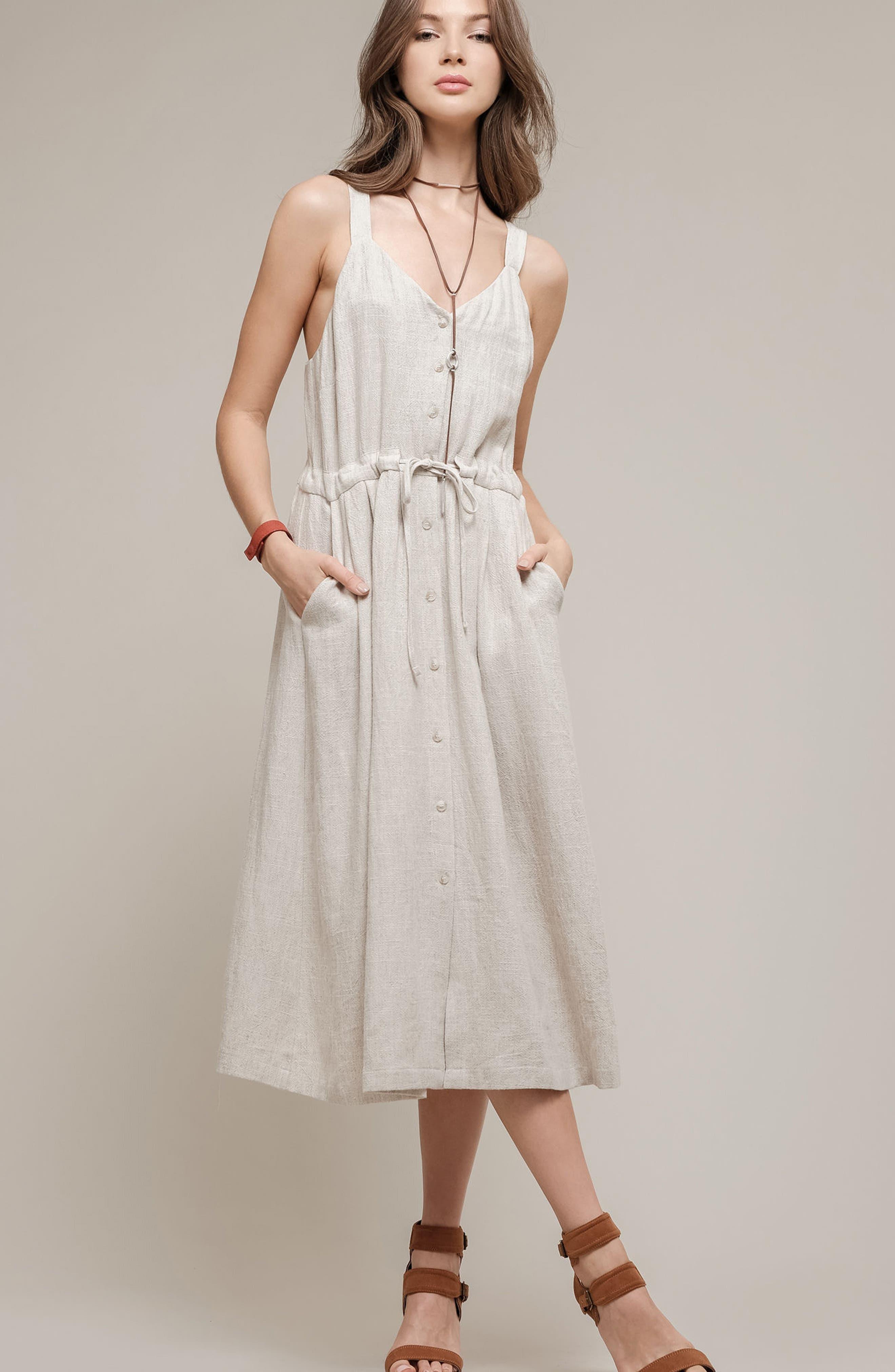 Button Up Drawstring Midi Dress,                             Alternate thumbnail 7, color,                             250