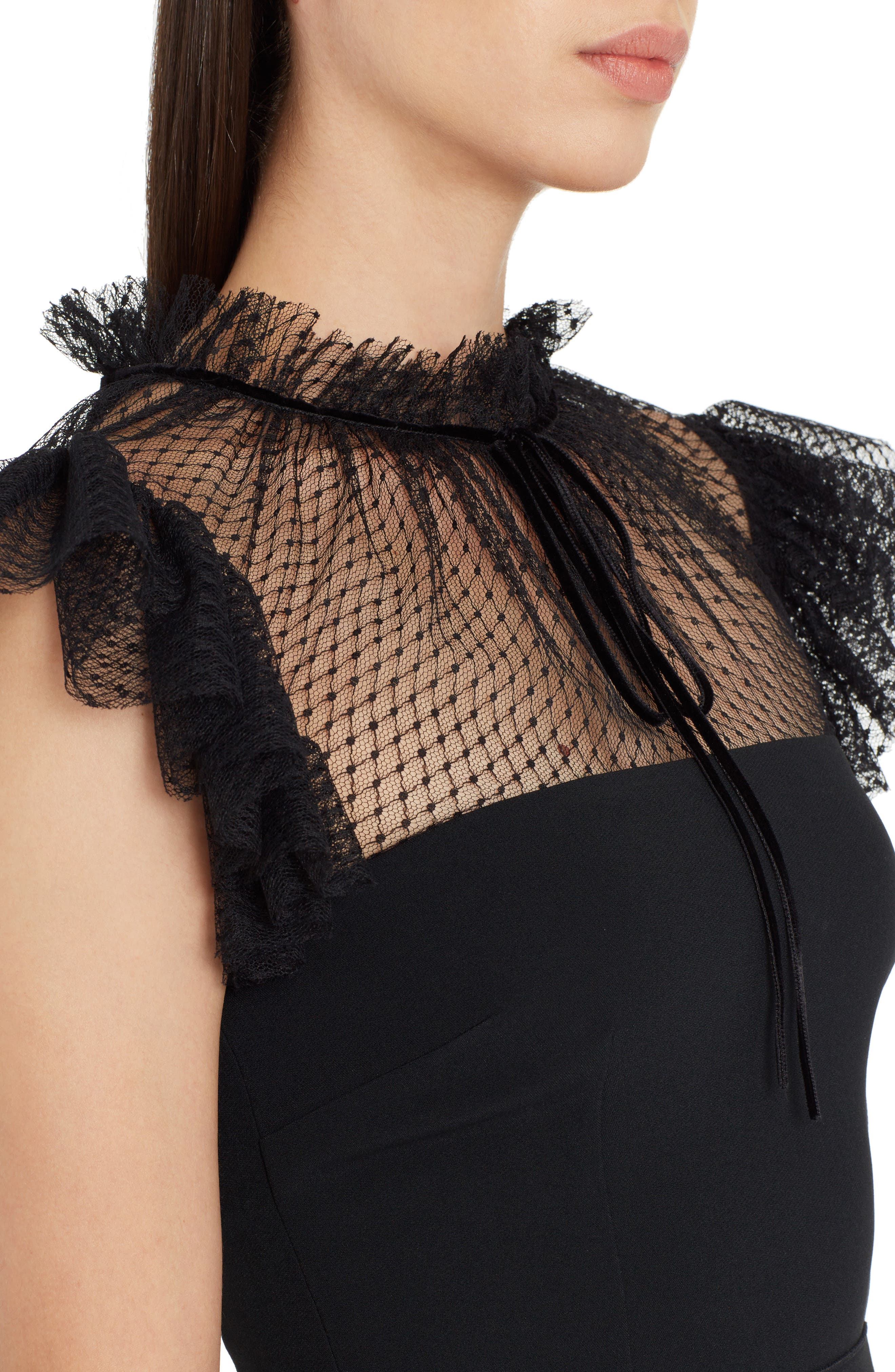 Mesh Yoke Stretch Cady Sheath Dress,                             Alternate thumbnail 4, color,                             BLACK