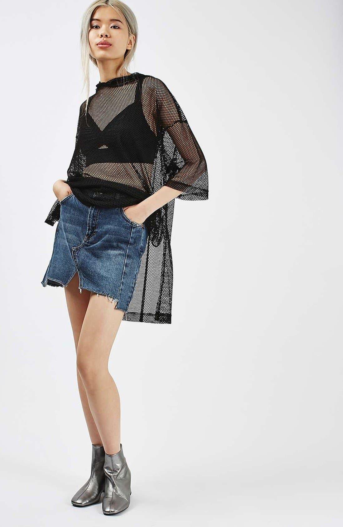 Moto Patchwork Denim Skirt,                             Alternate thumbnail 5, color,                             400