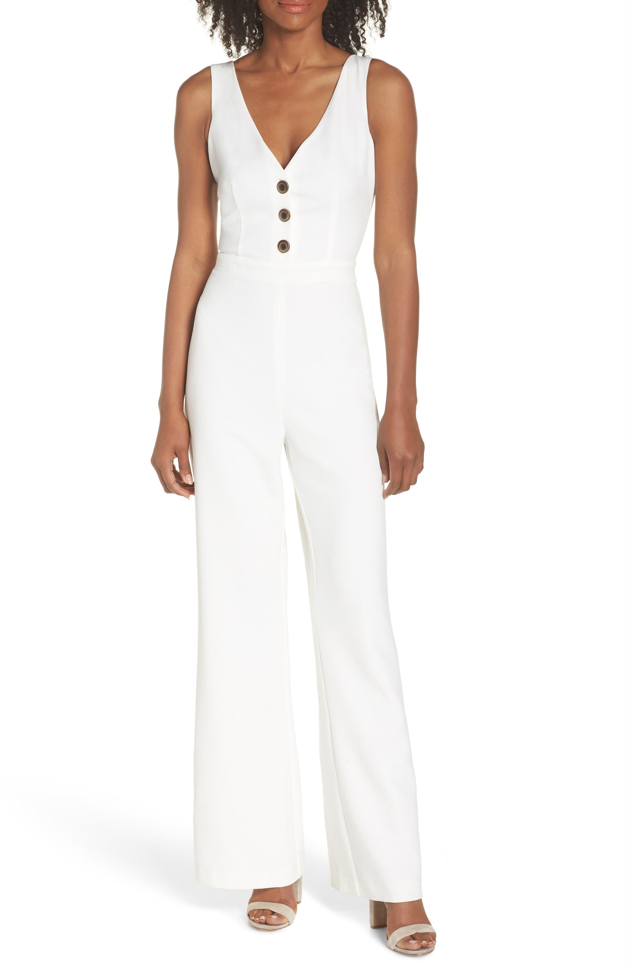 Button Front Jumpsuit,                         Main,                         color, 100