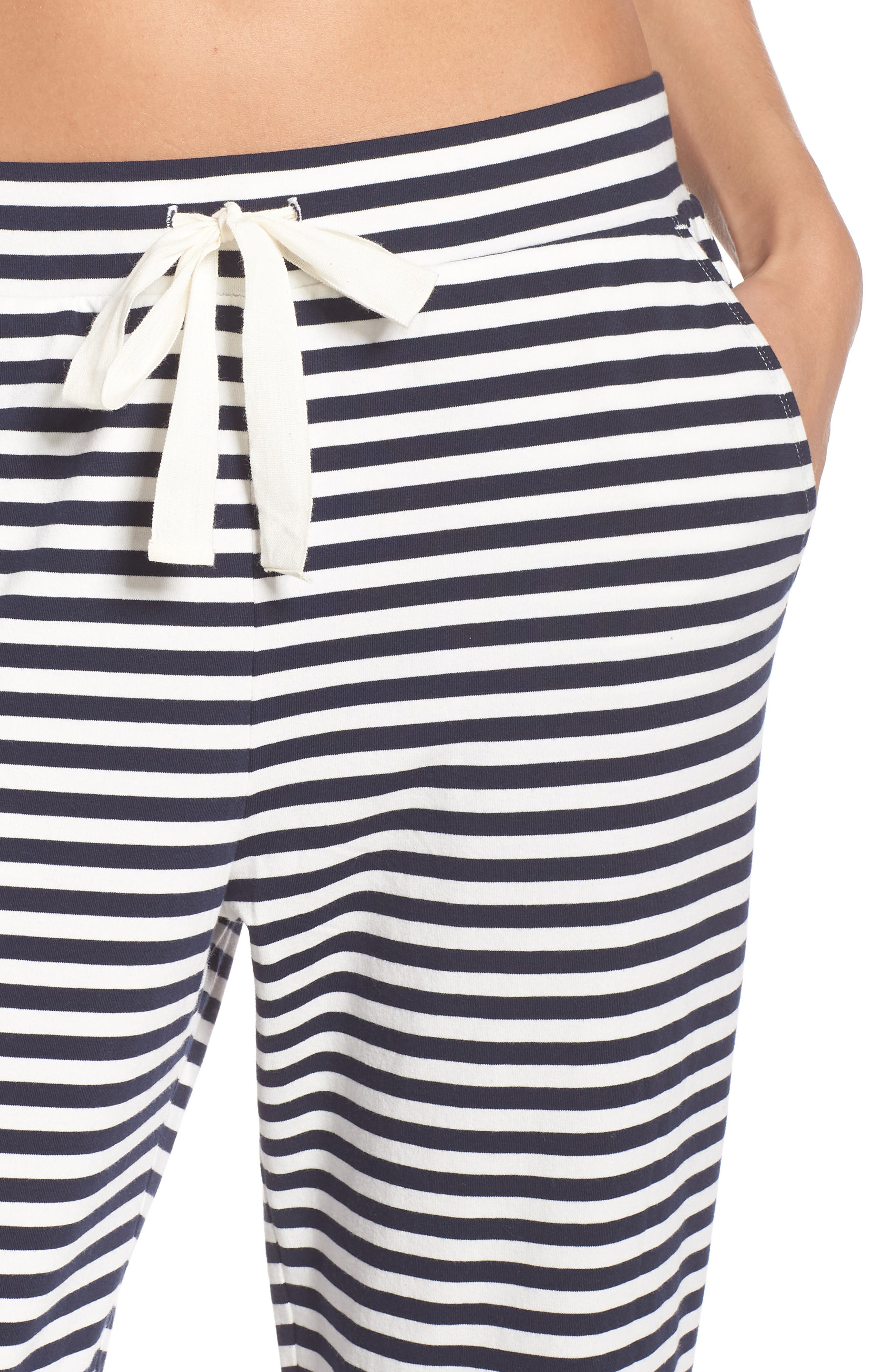 Dreamy Stripe Pajama Jogger Pants,                             Alternate thumbnail 4, color,                             IVORY NAVY