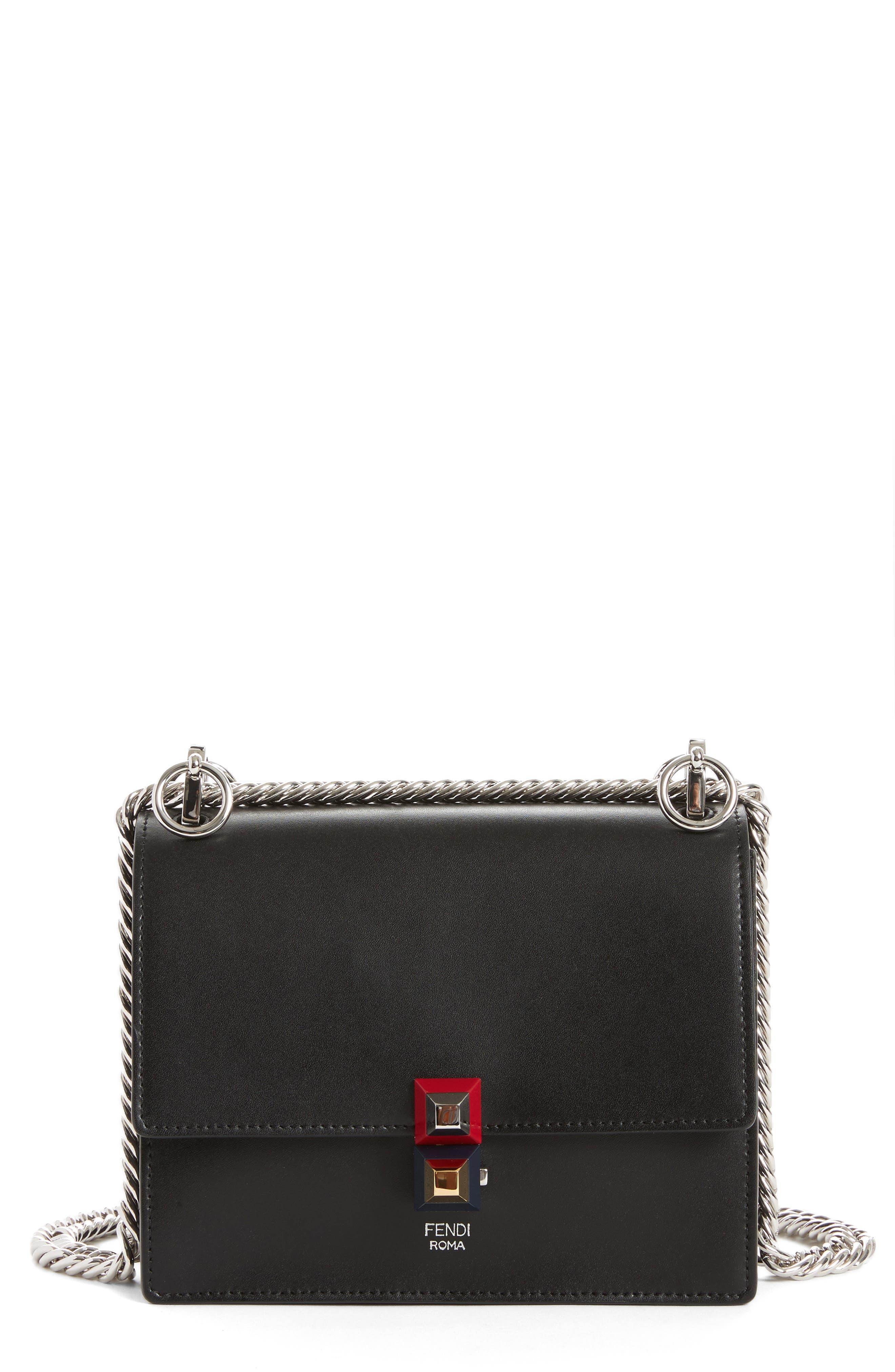Small Kan I Leather Bag,                         Main,                         color, NERO