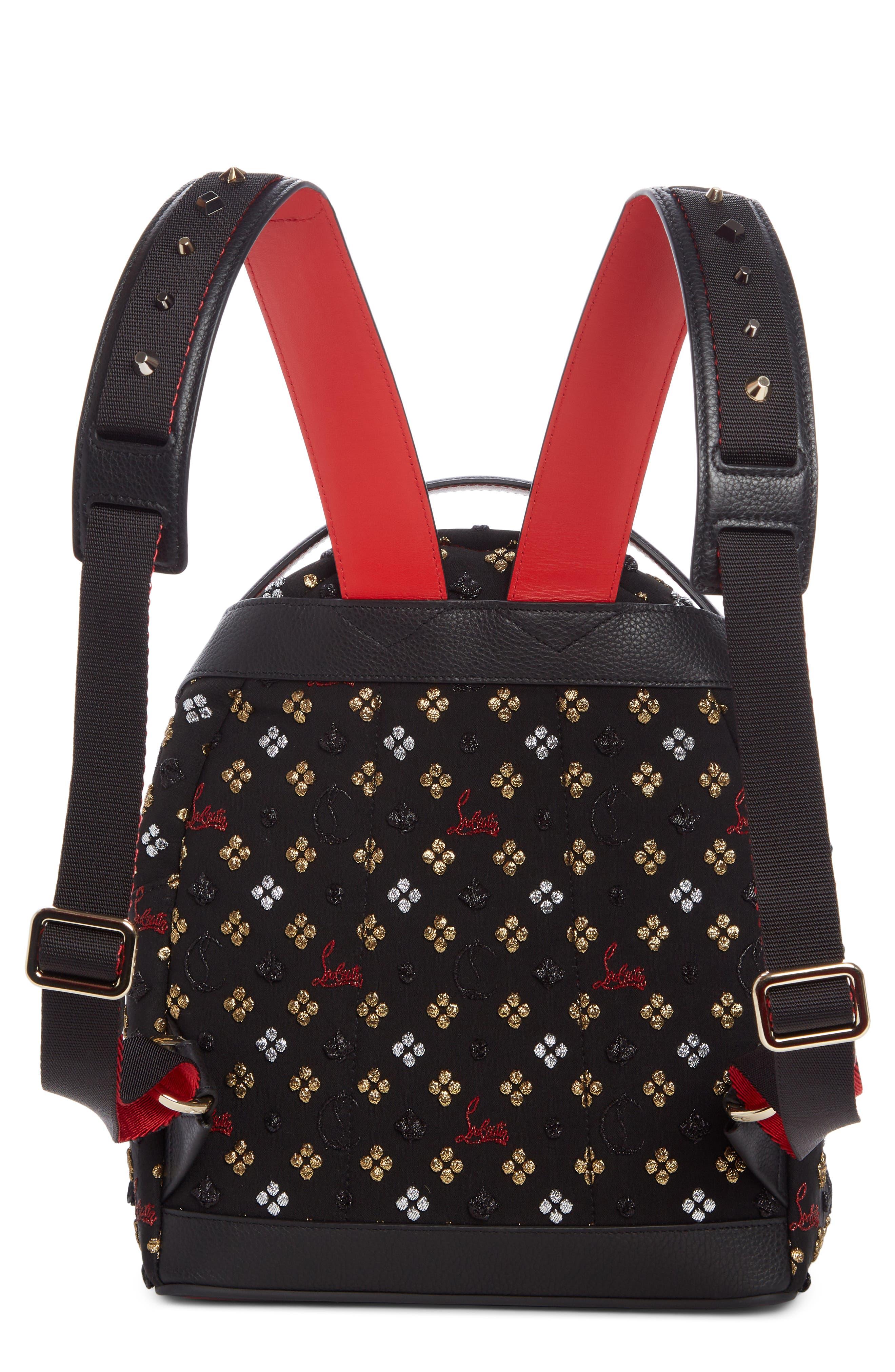 Small Backloubi Metallic Jacquard Backpack,                             Alternate thumbnail 2, color,                             BLACK MULTI