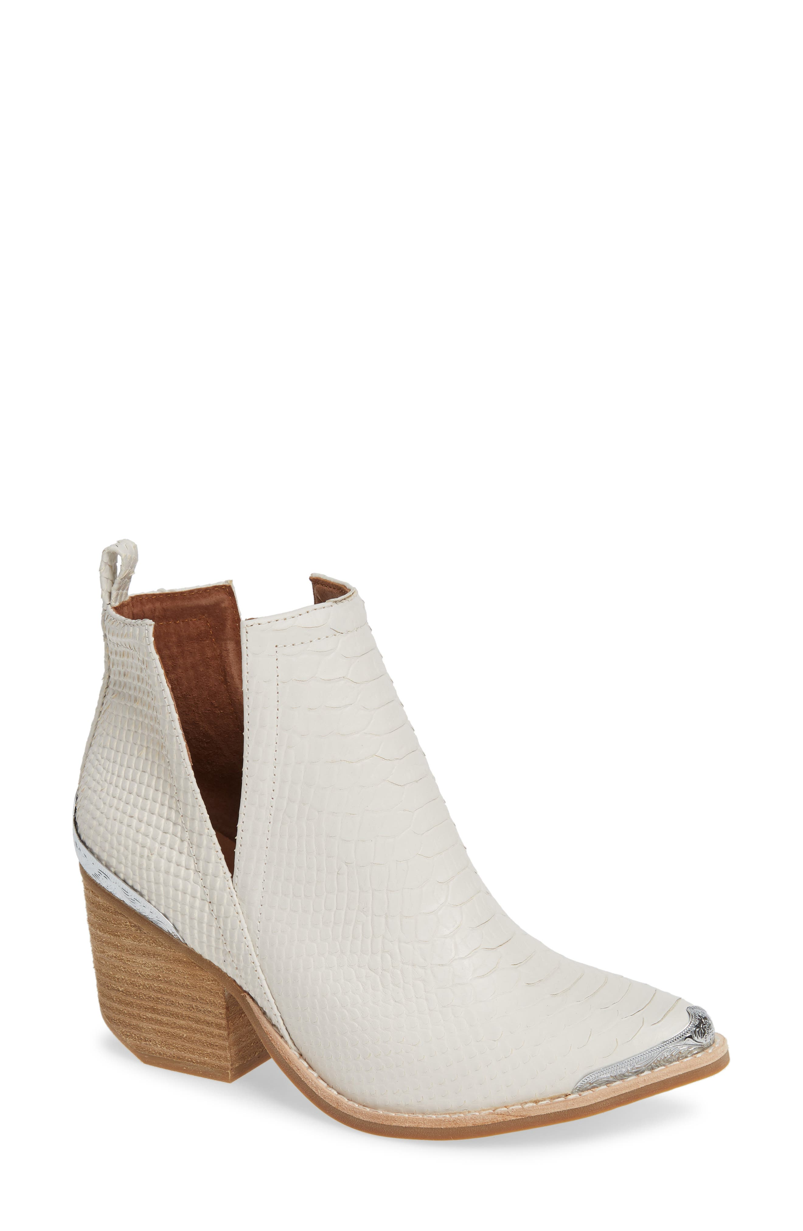 JEFFREY CAMPBELL Cromwell Cutout Western Boot in White Snake Print Leather