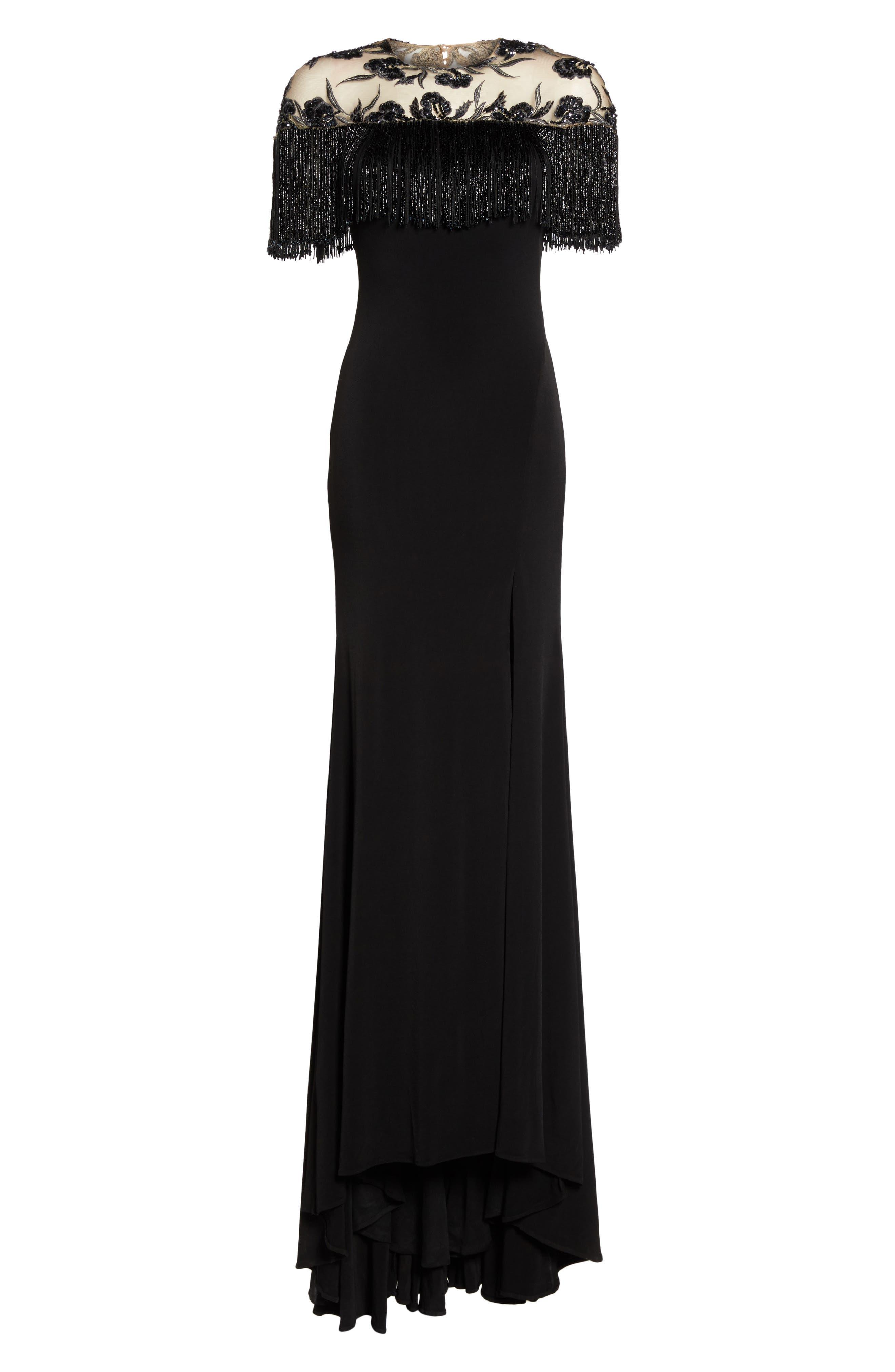Beaded Fringe Bodice Gown,                             Alternate thumbnail 6, color,                             001