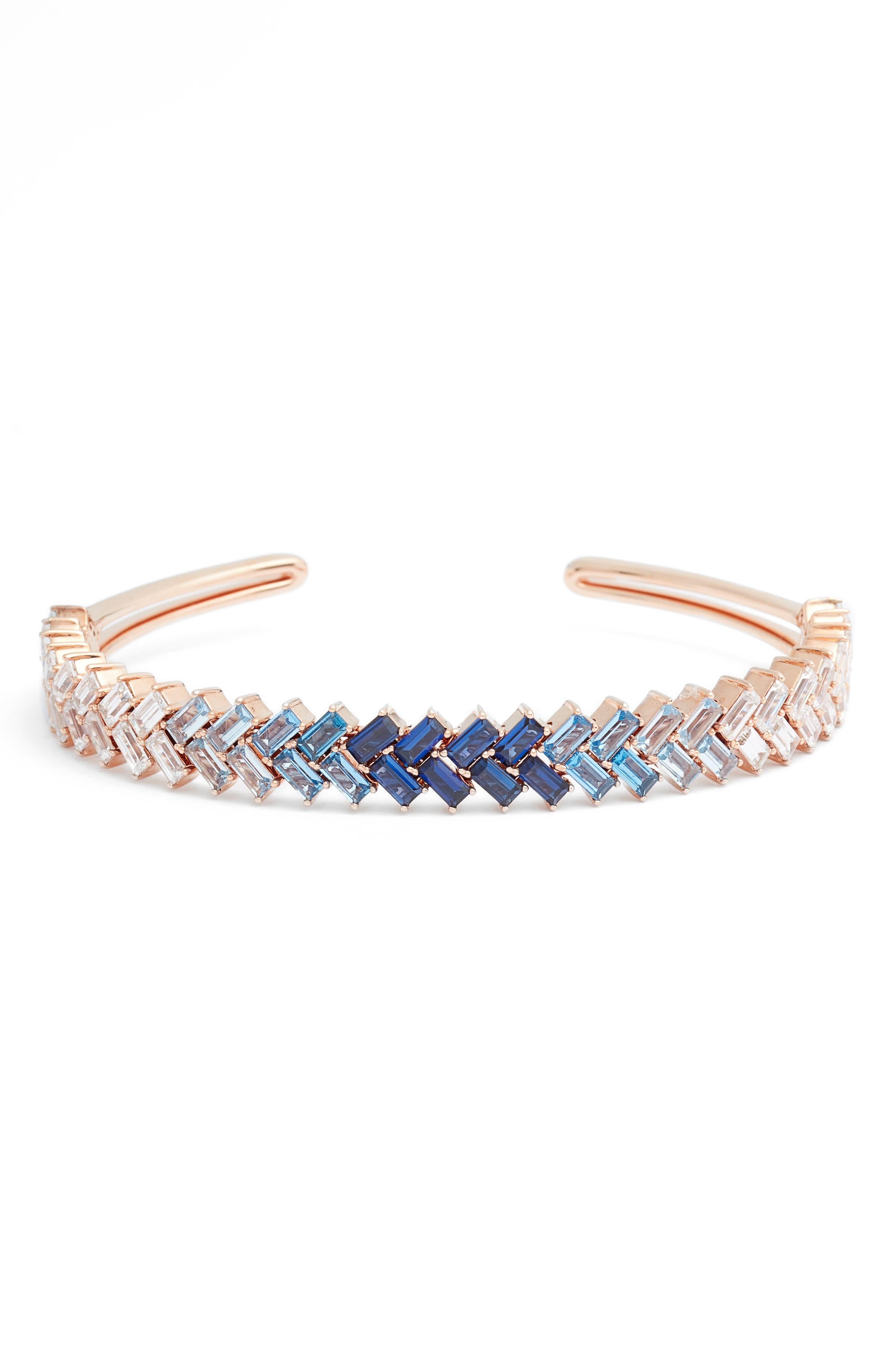 NADRI Spree Blue Baguette Cuff Bracelet in Black