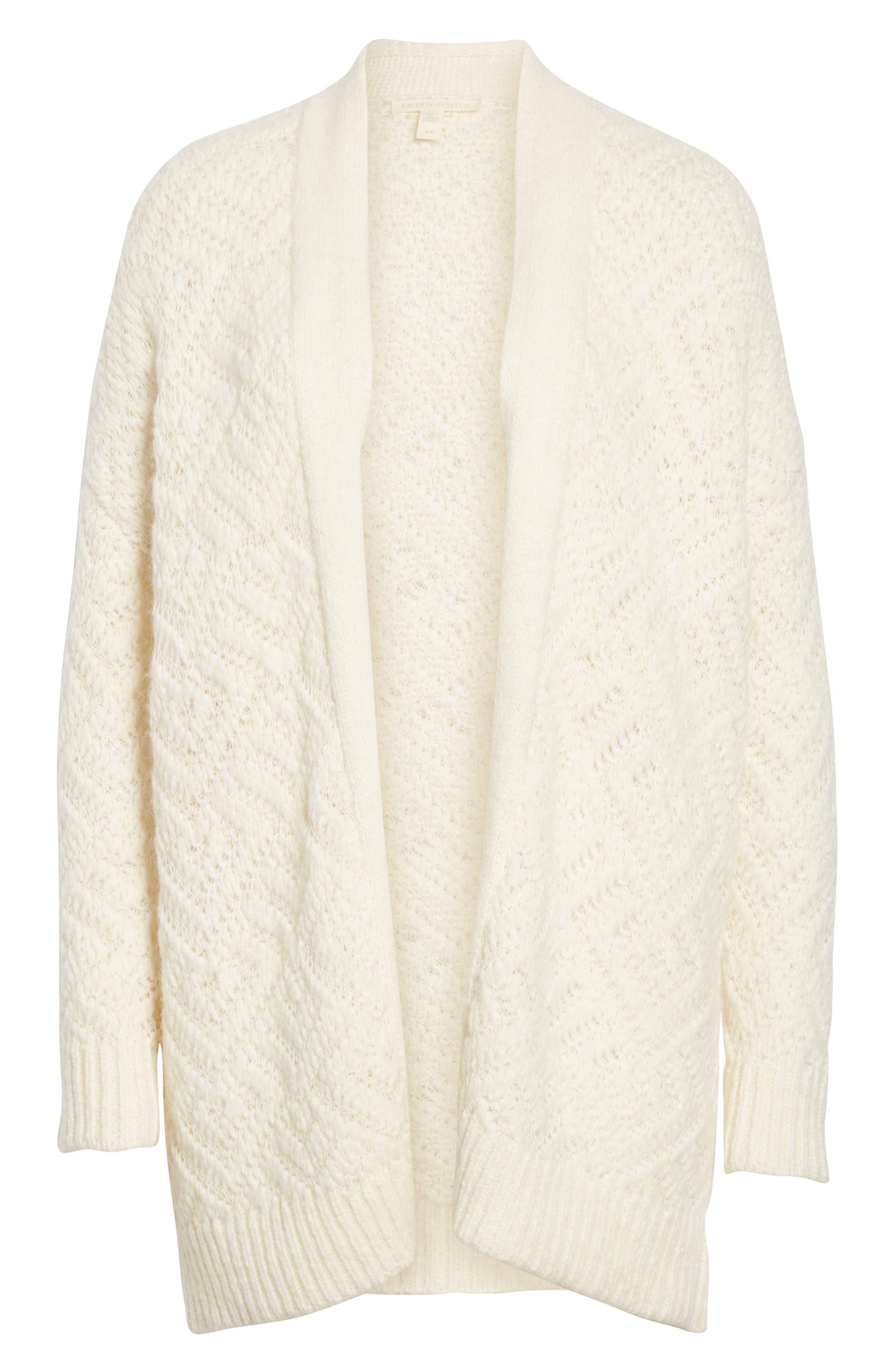 Simple Cardigan,                             Alternate thumbnail 6, color,                             SOFT WHITE