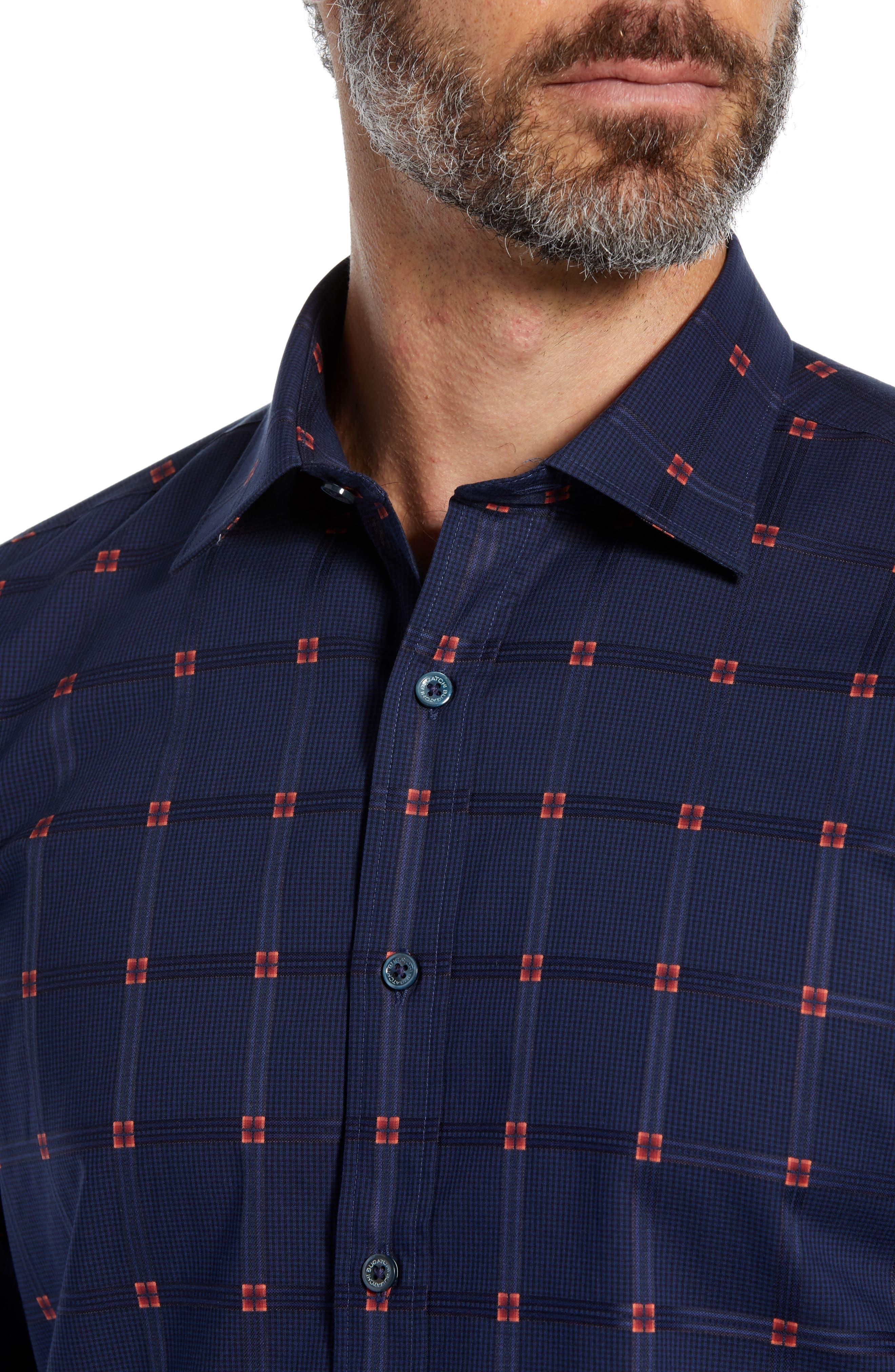 Shaped Fit Grid Sport Shirt,                             Alternate thumbnail 2, color,                             NAVY