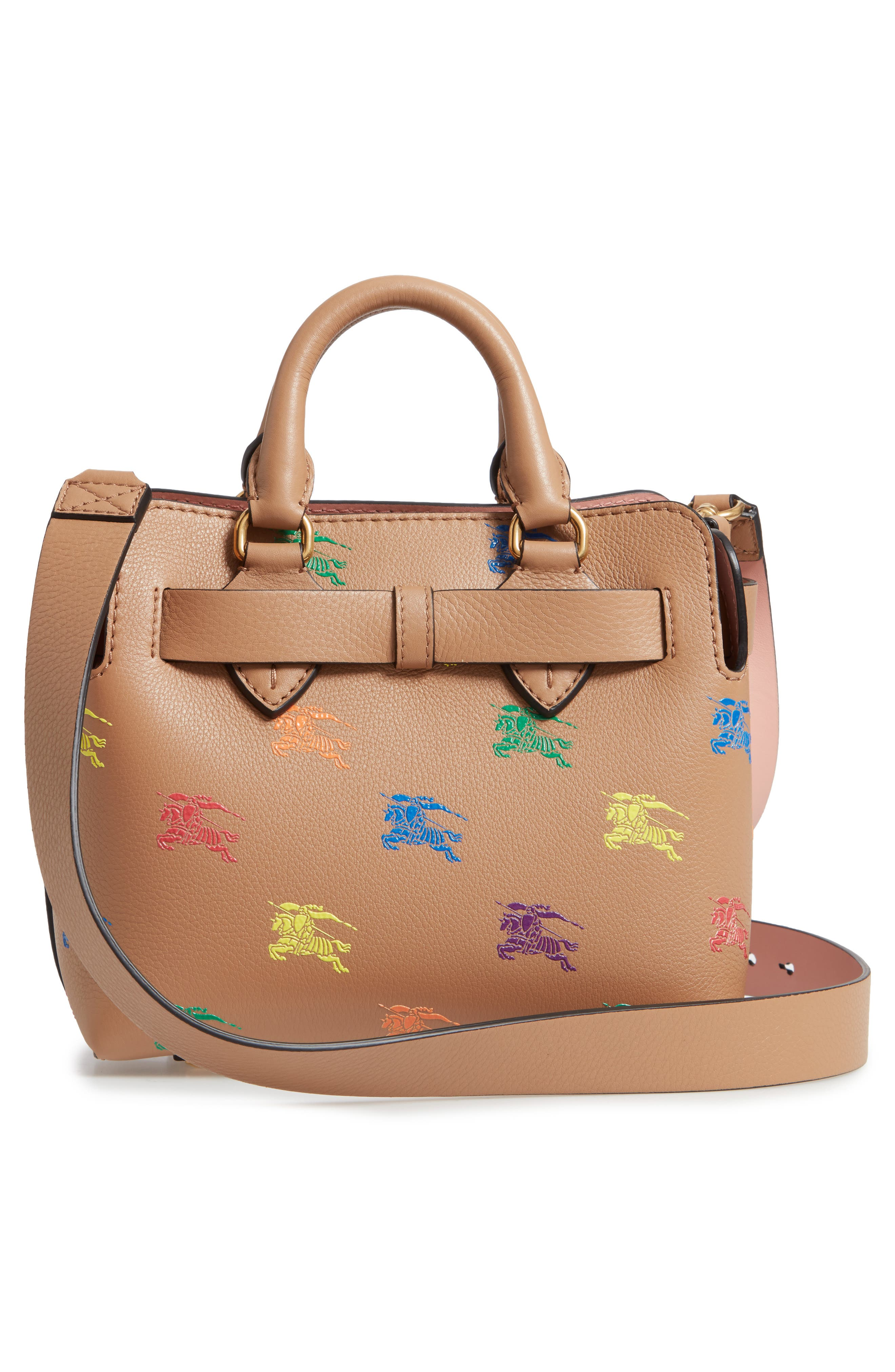 Baby Belt Bag Rainbow Logo Leather Tote,                             Alternate thumbnail 3, color,                             LIGHT CAMEL