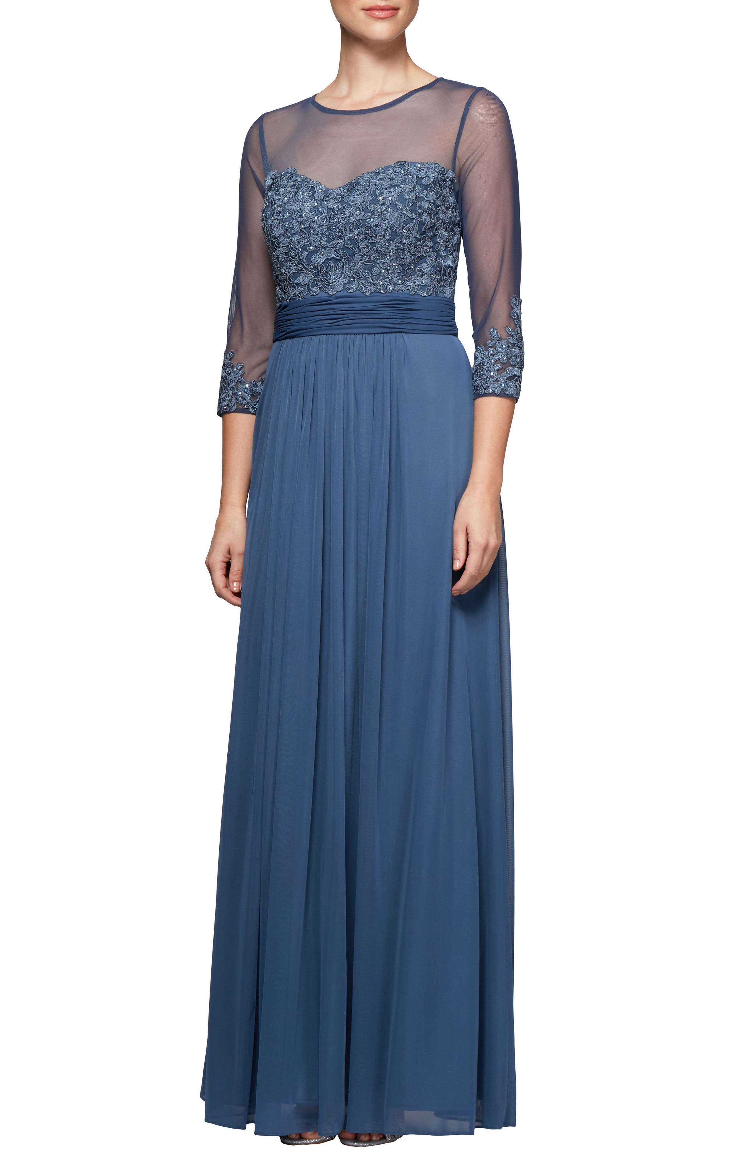 Alex Evenings Embellished Gown, Purple