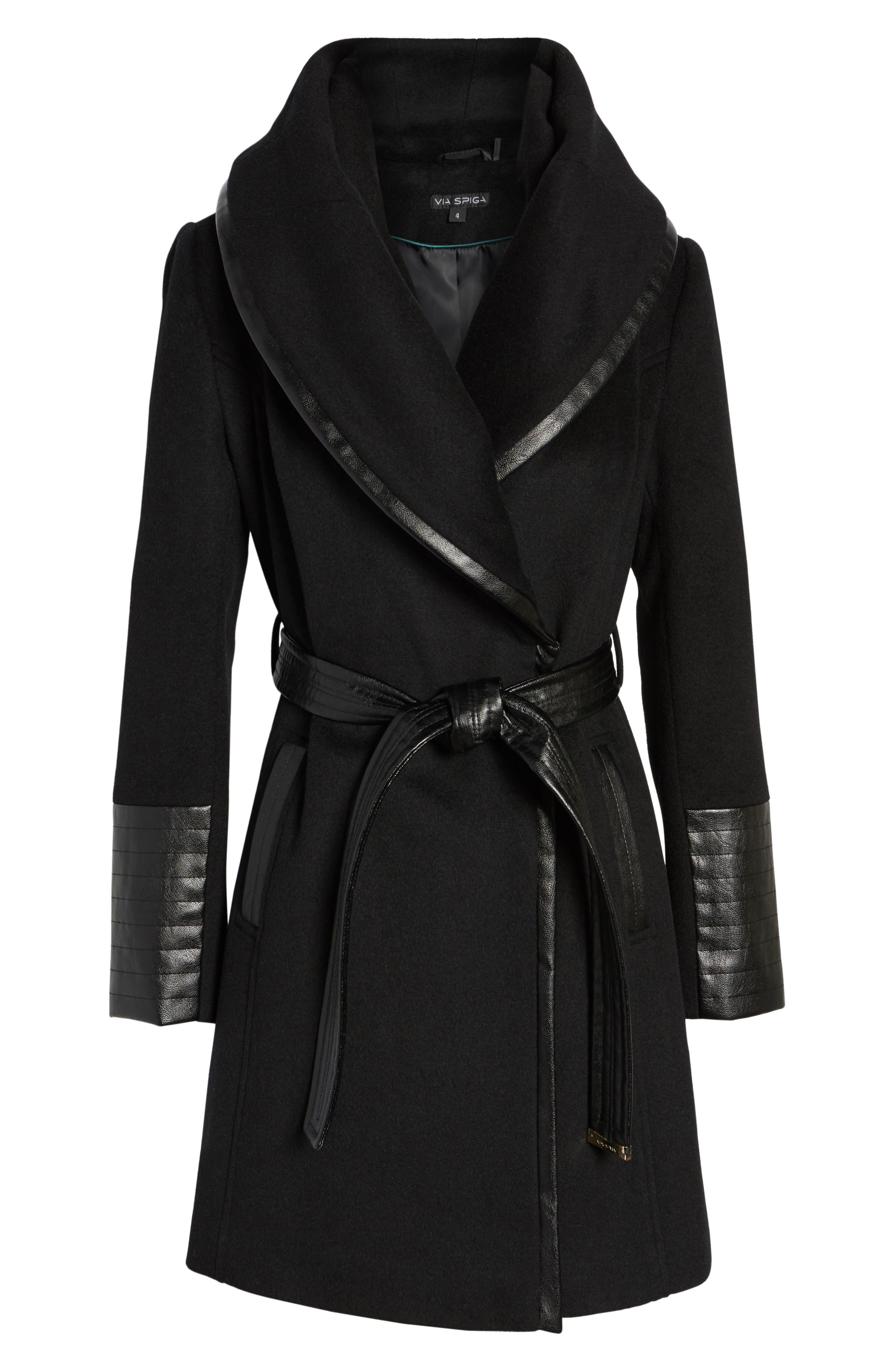 Wool Blend Coat,                             Alternate thumbnail 6, color,                             BLACK