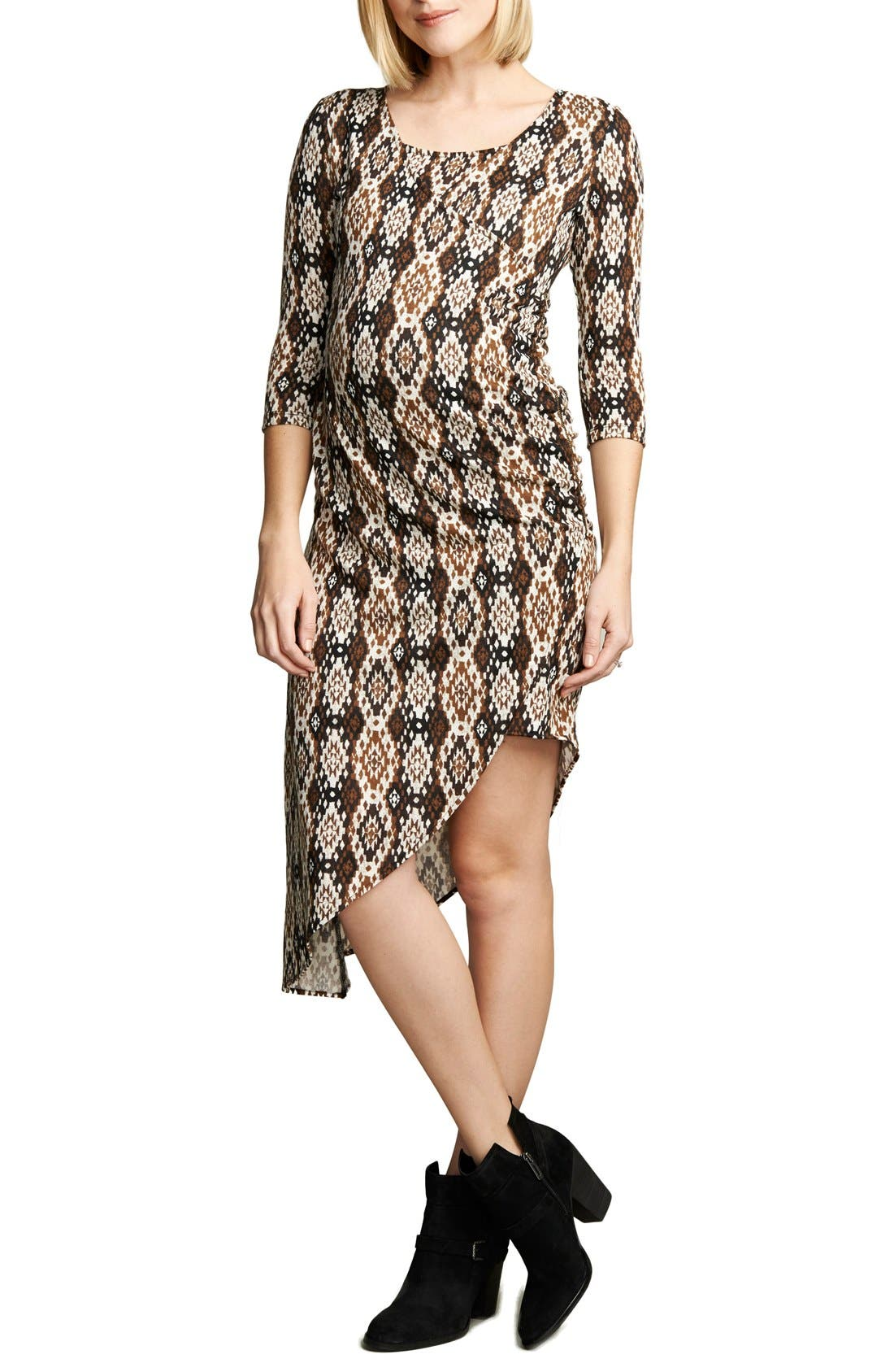 Print Asymmetrical Hem Dress,                             Main thumbnail 1, color,                             IKAT PRINT